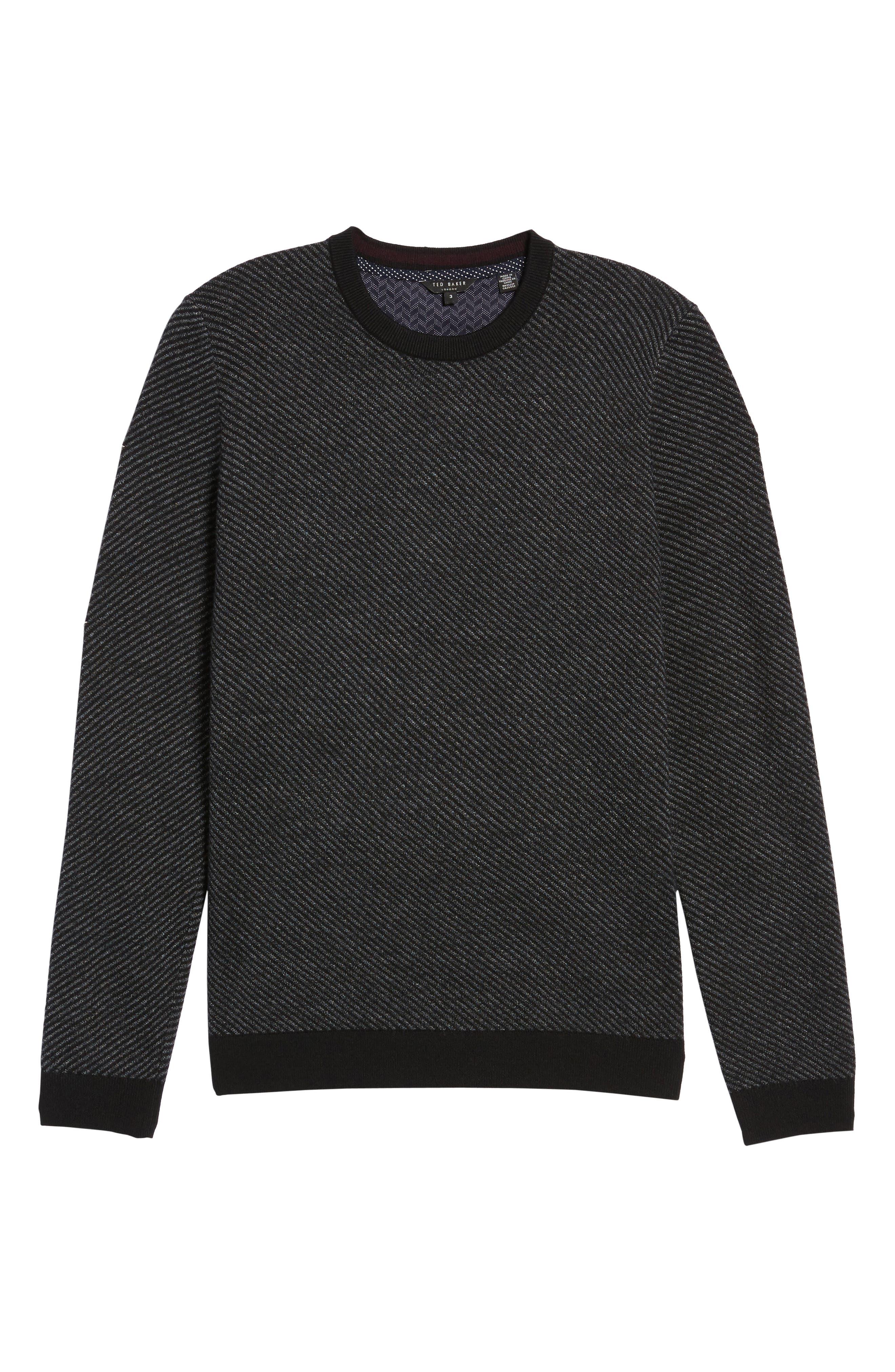 Cinamon Interest Stitch Crewneck Sweater,                             Alternate thumbnail 6, color,                             001