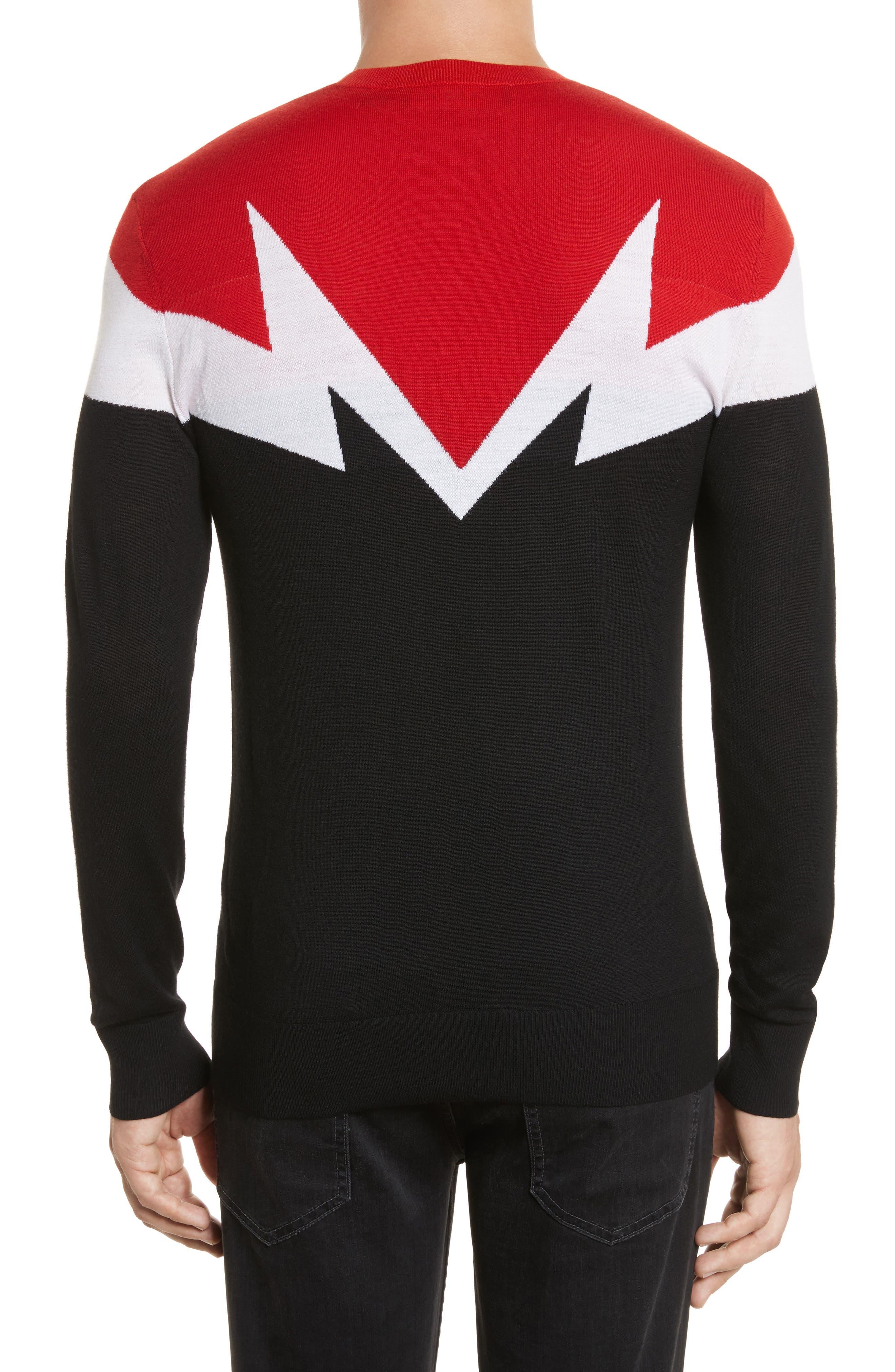 Colorblock Thunderbolt Merino Wool Sweater,                             Alternate thumbnail 2, color,
