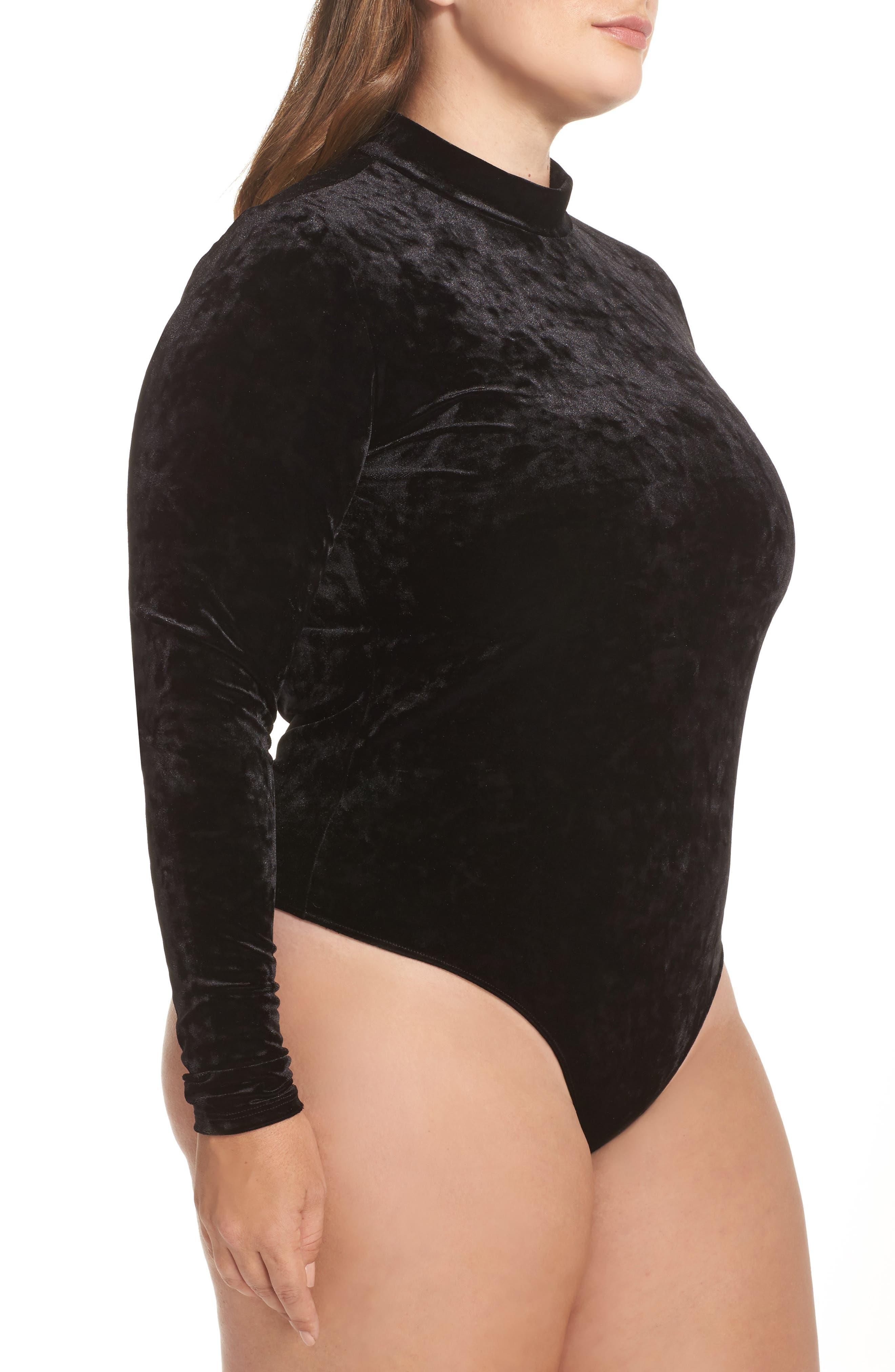 Velvet Thong Bodysuit,                             Alternate thumbnail 4, color,                             001