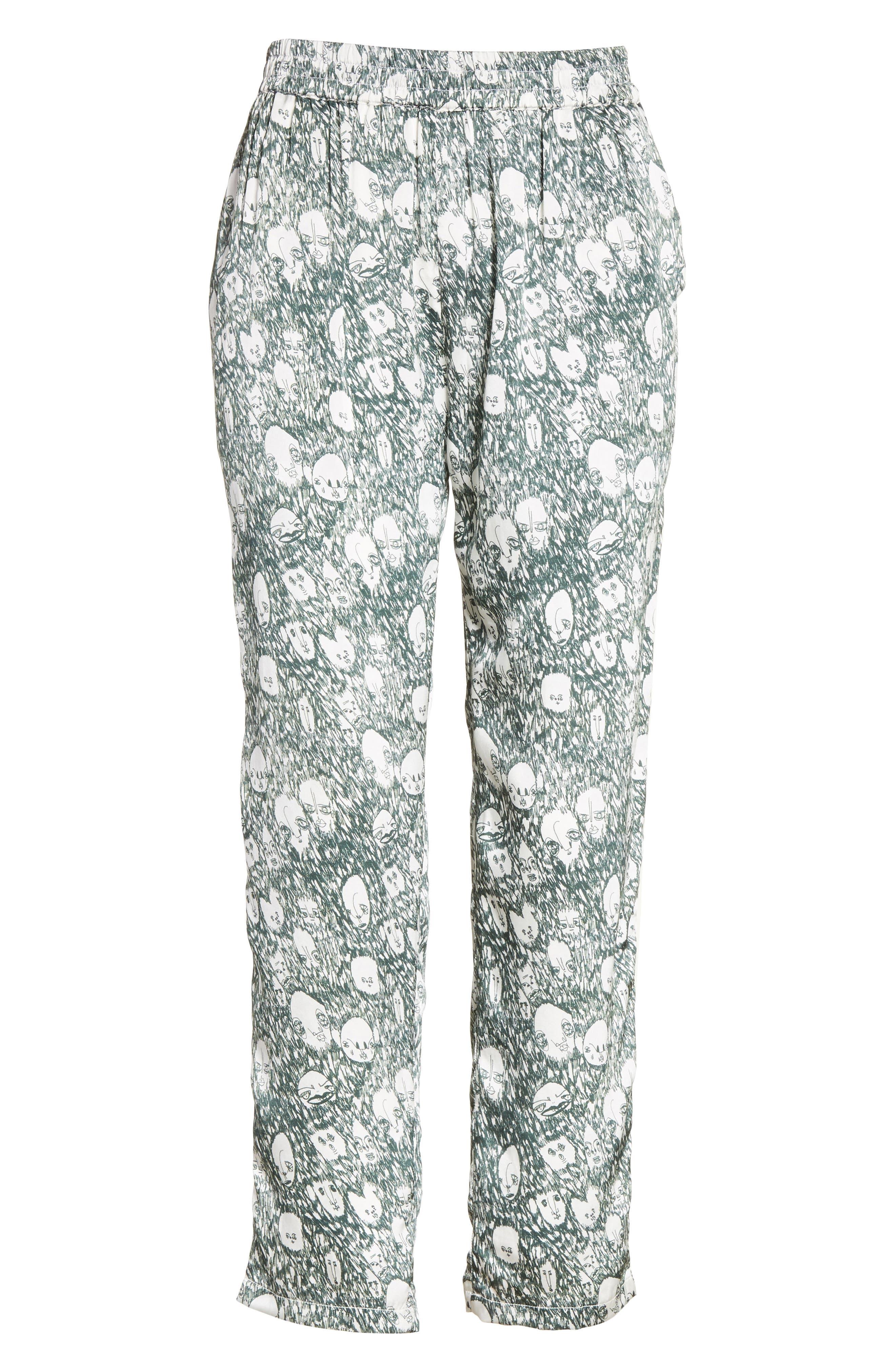 Angus Crop Silk Lounge Pants,                             Alternate thumbnail 6, color,                             900