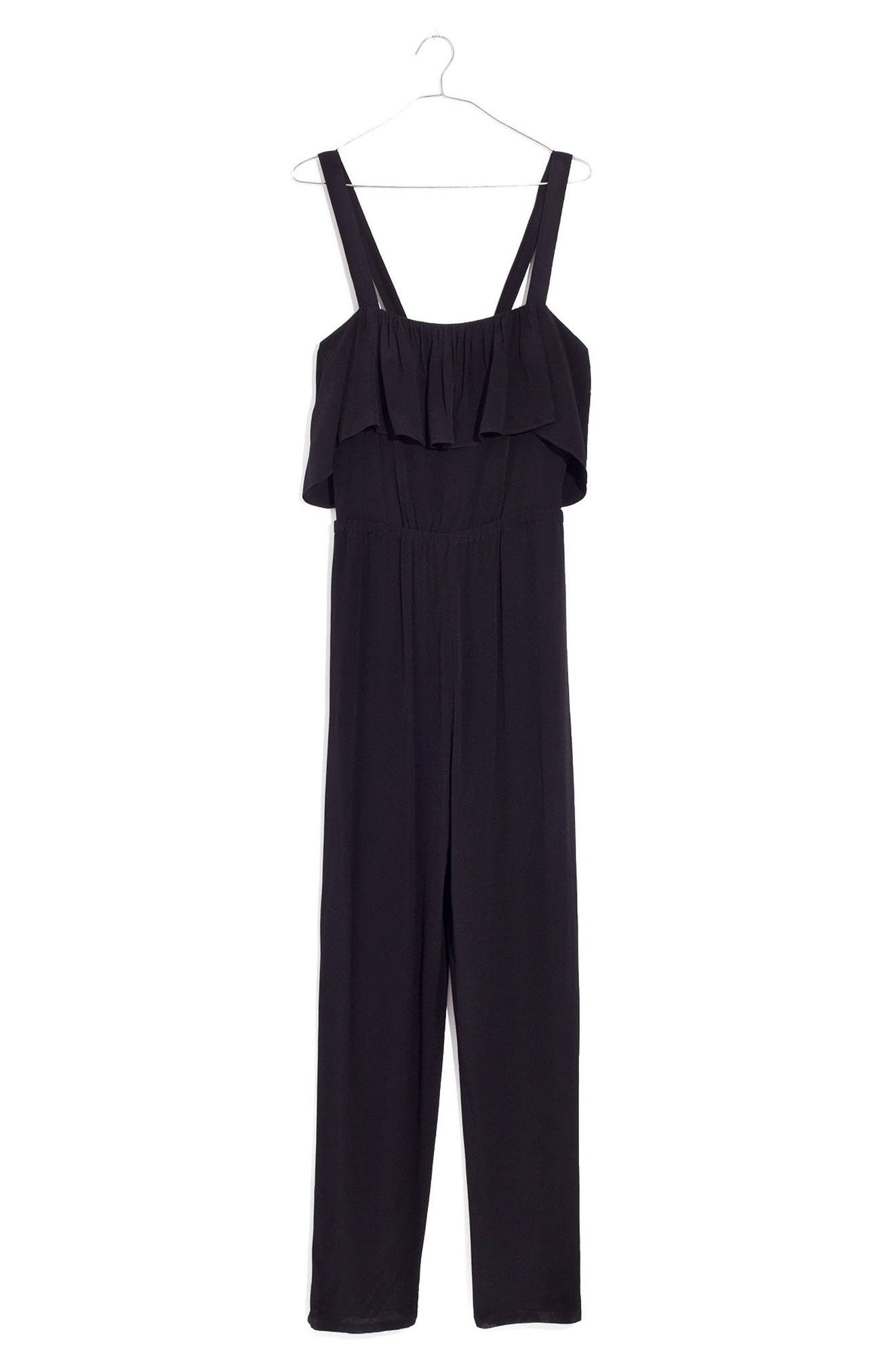 Apron Ruffle Jumpsuit,                             Alternate thumbnail 4, color,                             001