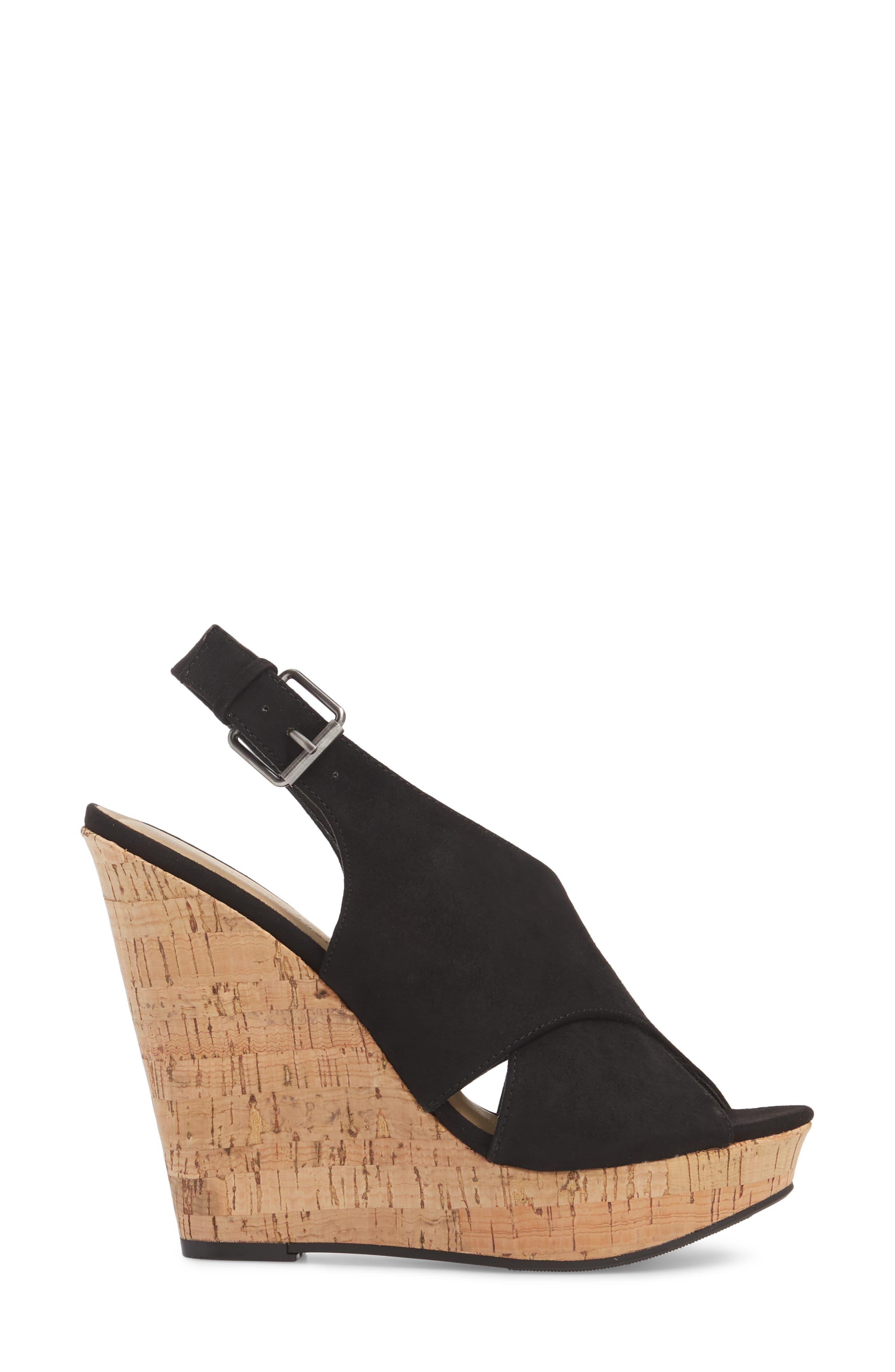 Myya Slingback Wedge Sandal,                             Alternate thumbnail 3, color,                             BLACK