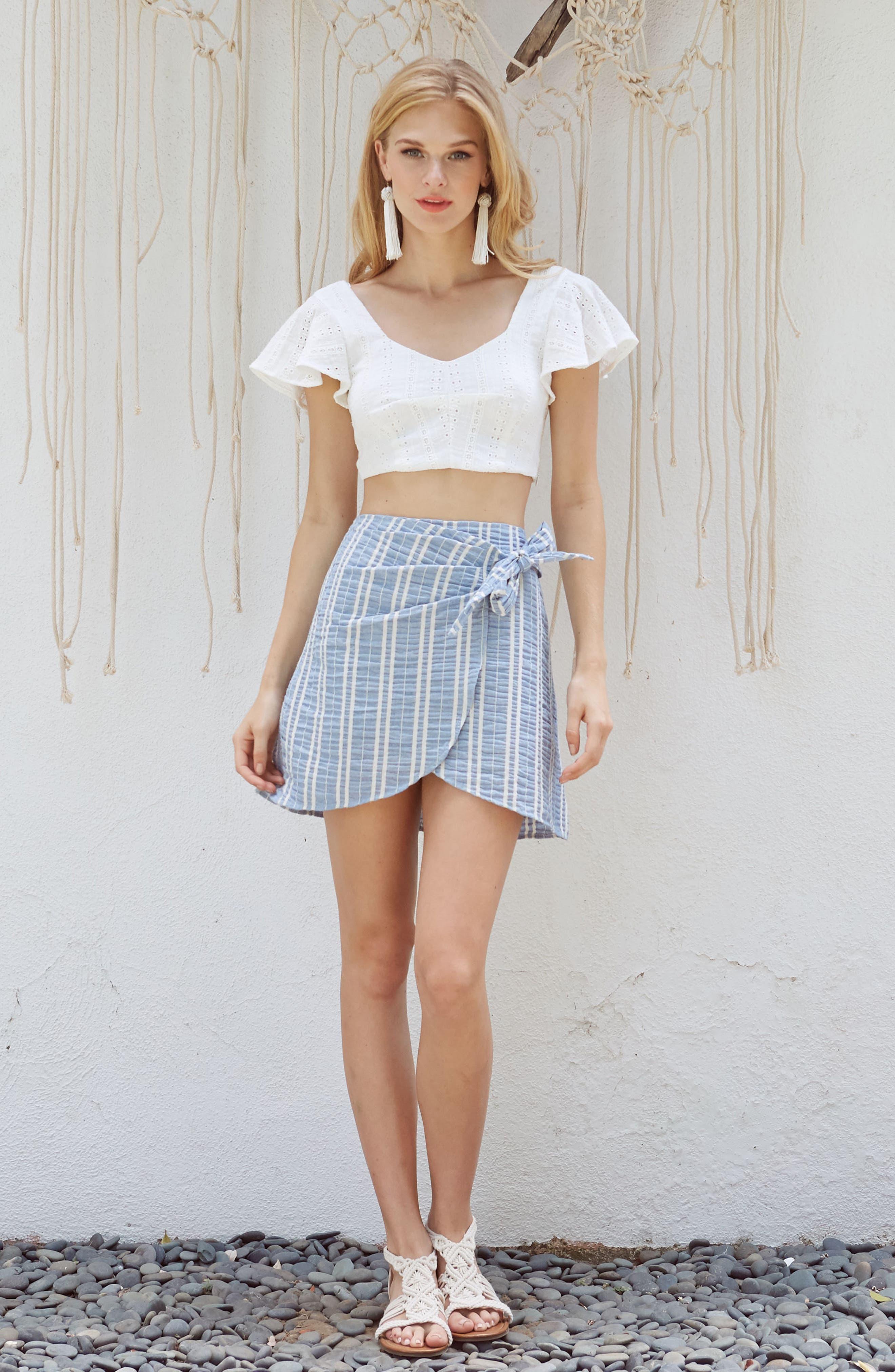 Waves Wrap Front Skirt,                             Alternate thumbnail 7, color,
