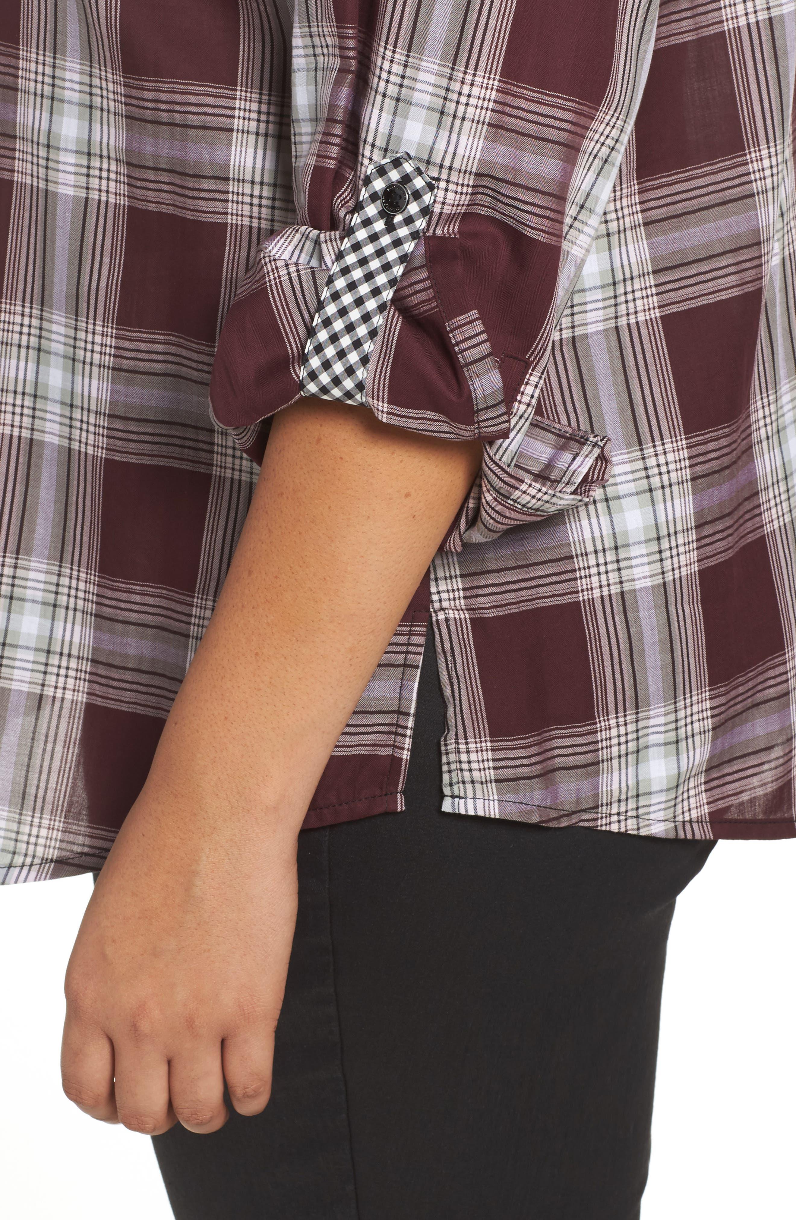 Addison Plaid Cotton Shirt,                             Alternate thumbnail 4, color,                             605