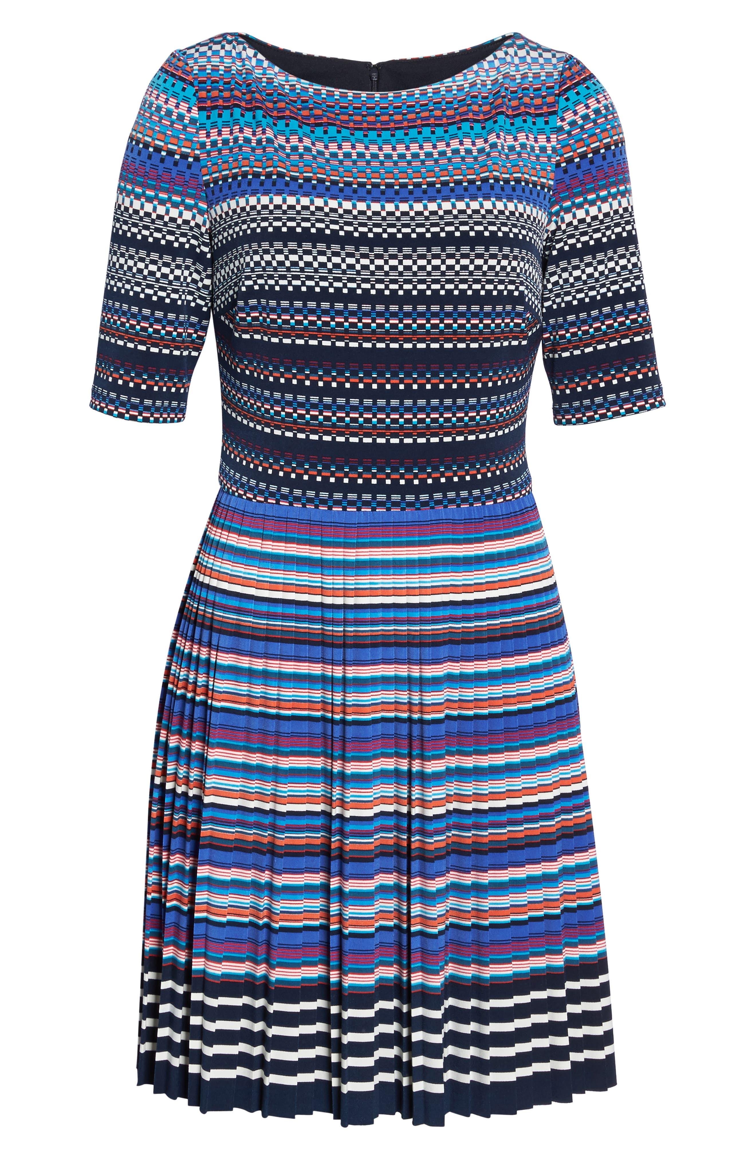 Pleat Fit & Flare Dress,                             Alternate thumbnail 6, color,                             466