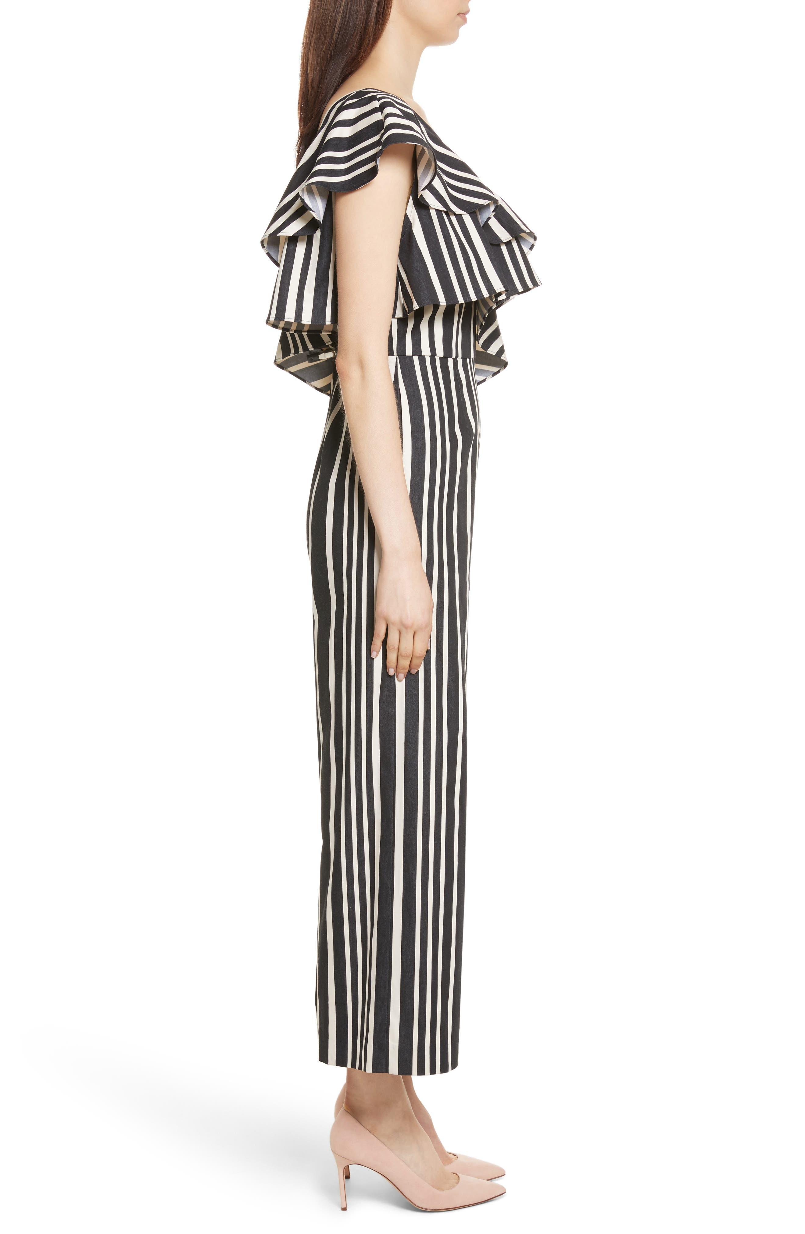 Sabeen Ruffle Stripe Crop Jumpsuit,                             Alternate thumbnail 3, color,                             009