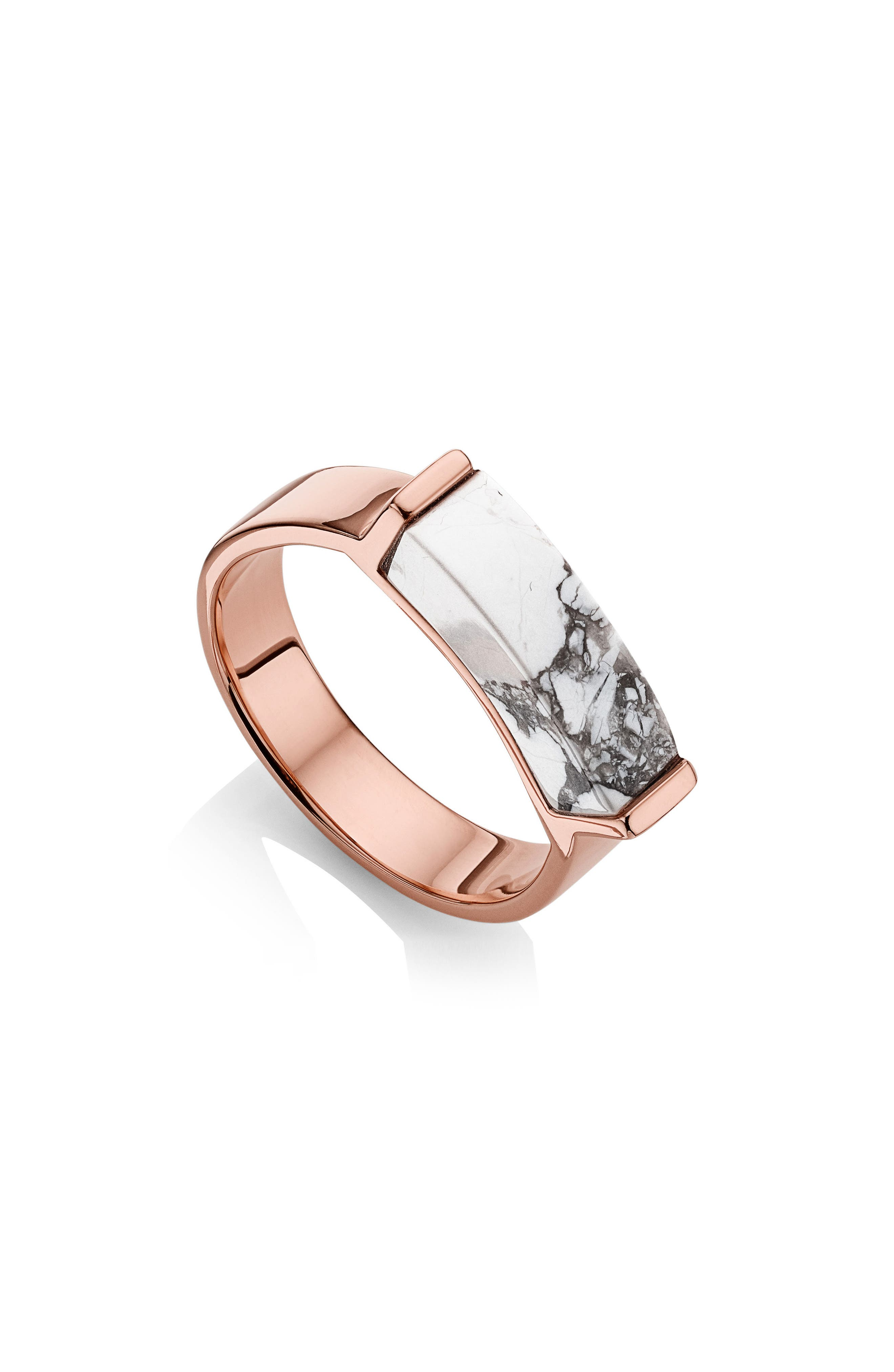 Engravable Linear Stone Ring,                             Main thumbnail 1, color,                             ROSE GOLD/ HOWLITE