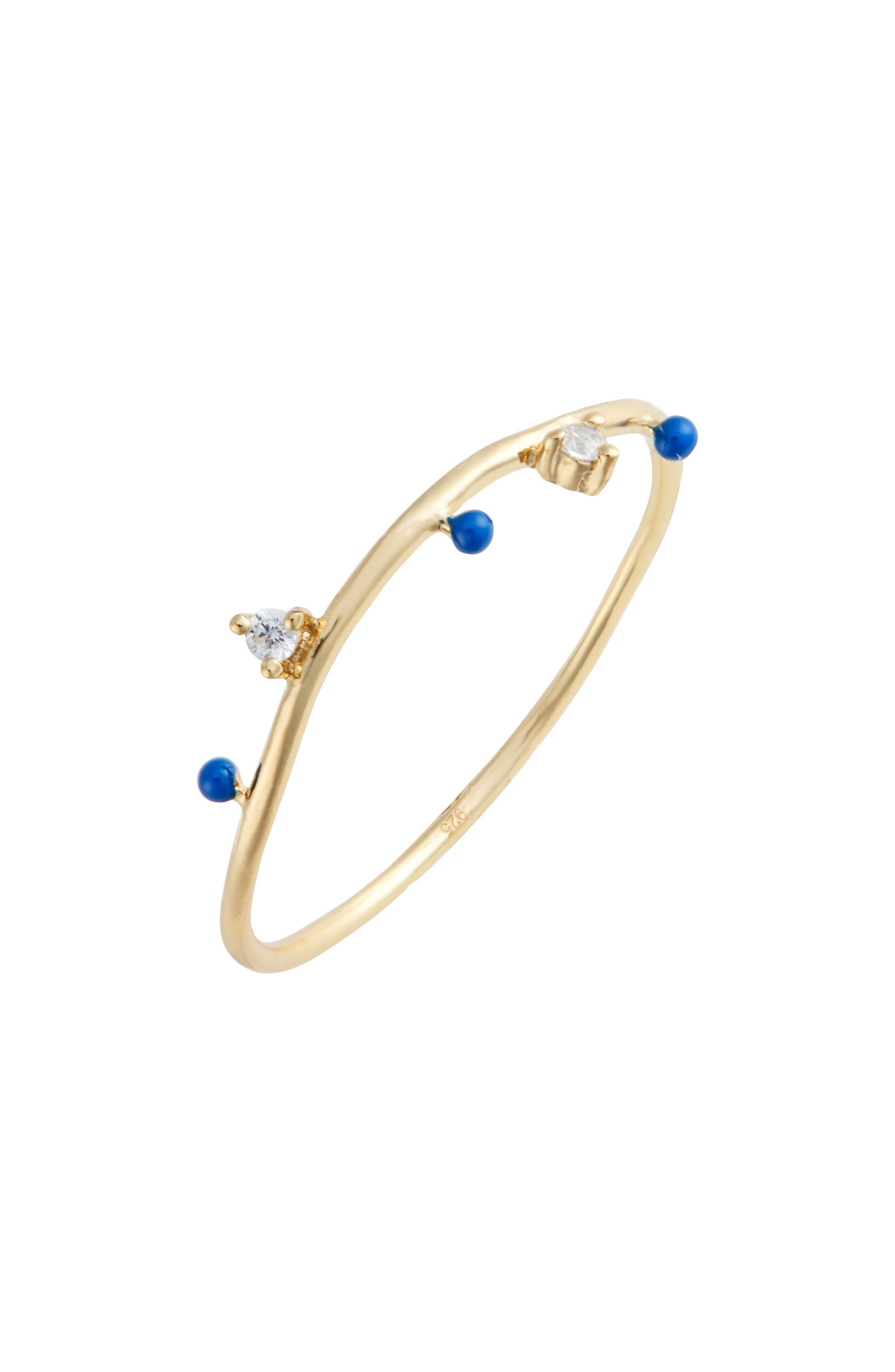 Beaded Enamel Ring,                         Main,                         color, LAPIS