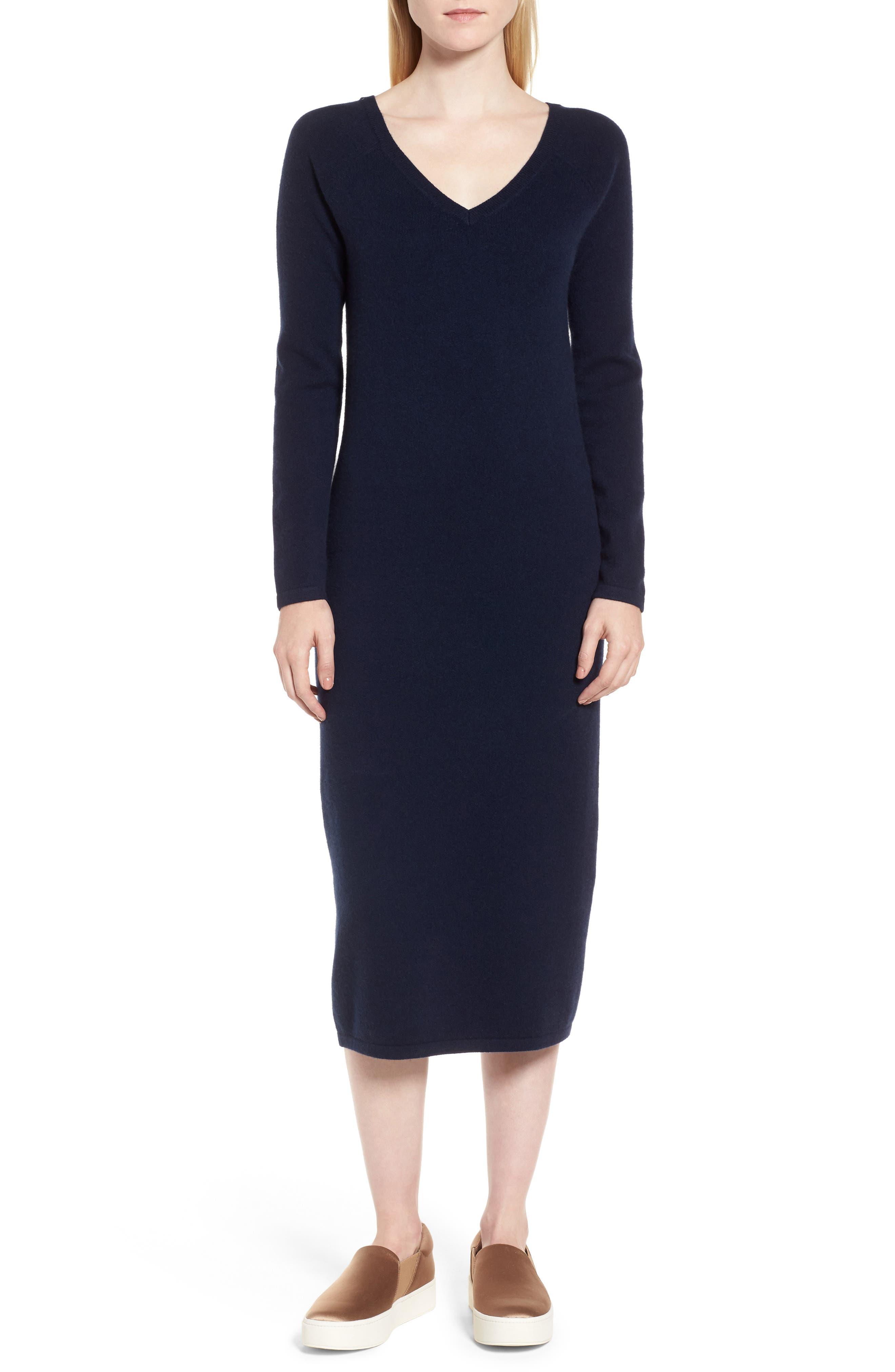 Cashmere Blend V-Neck Midi Dress,                             Main thumbnail 3, color,