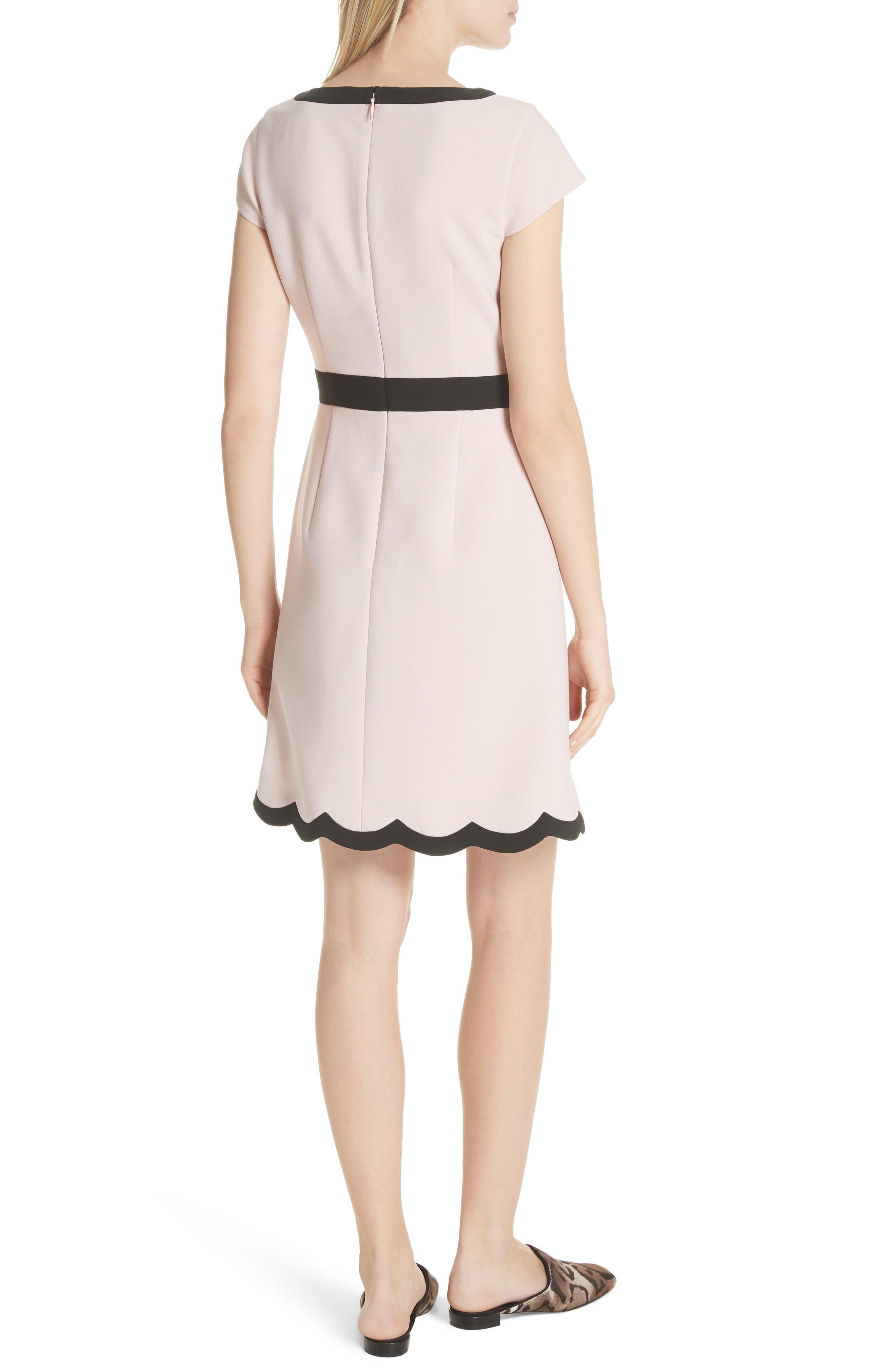 scallop cap sleeve dress,                             Alternate thumbnail 2, color,                             663