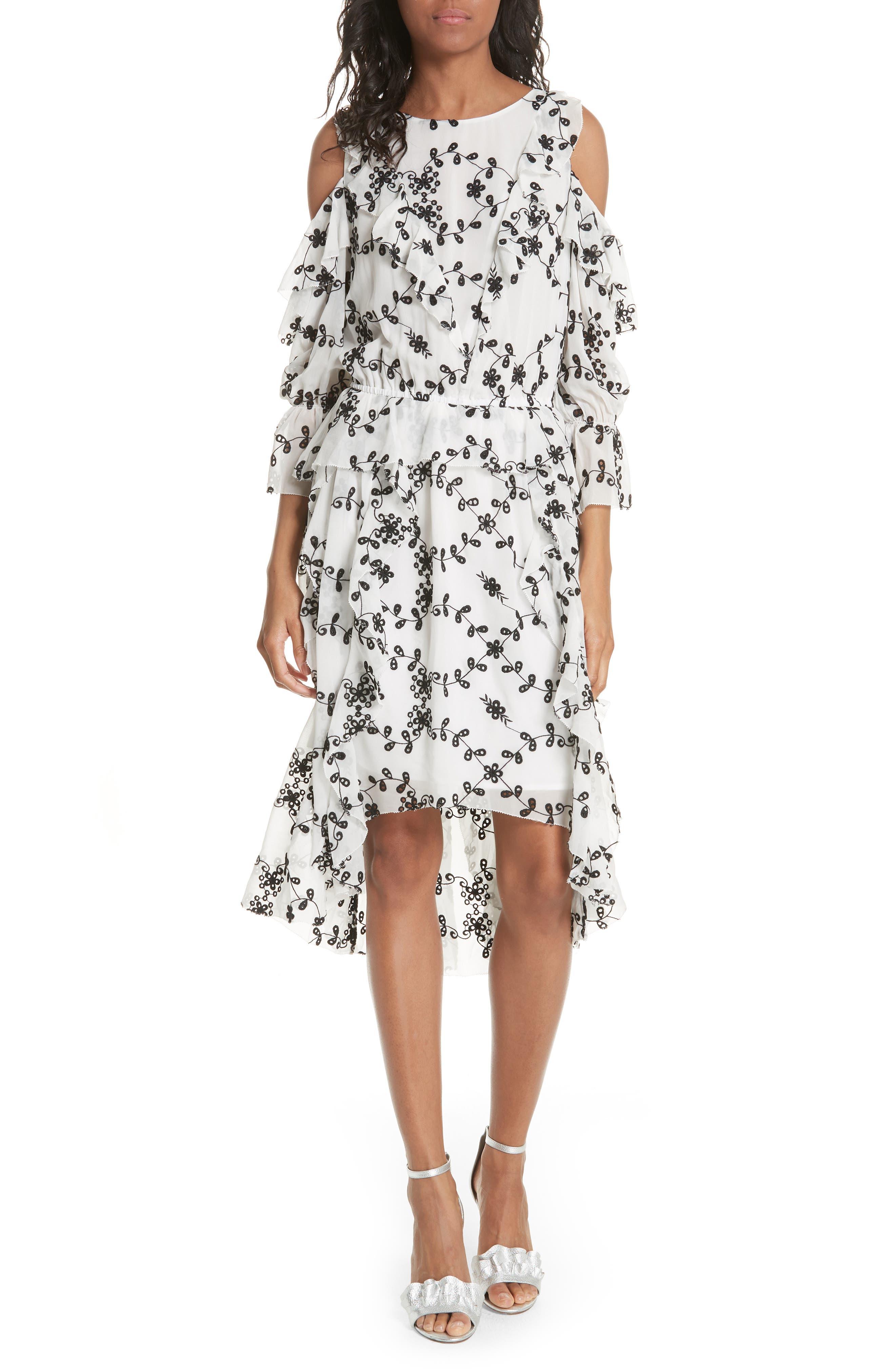 Alpheus Cold Shoulder Ruffled Silk Dress,                             Main thumbnail 2, color,