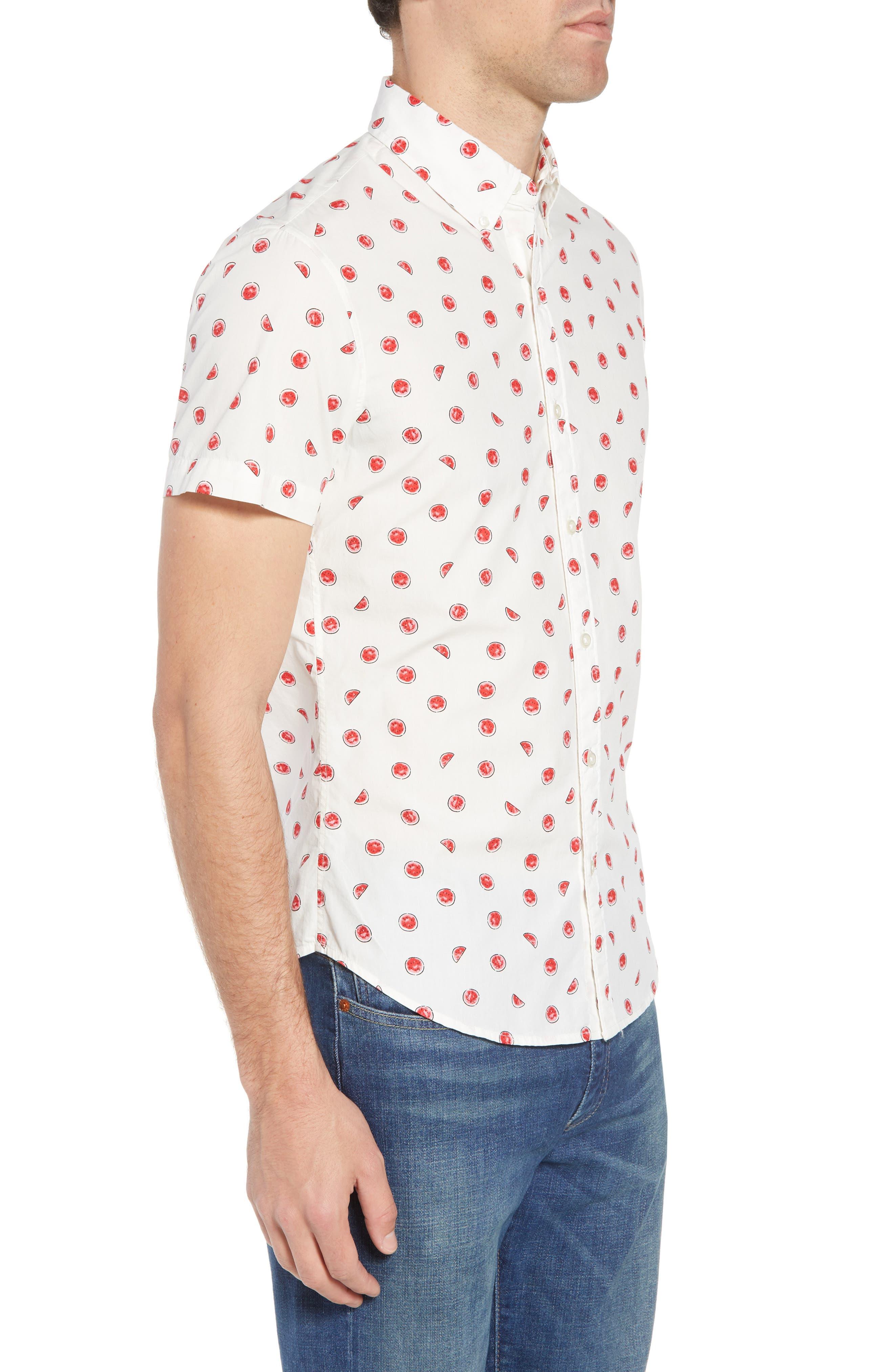 Slim Fit Watermelon Print Sport Shirt,                             Alternate thumbnail 3, color,                             100