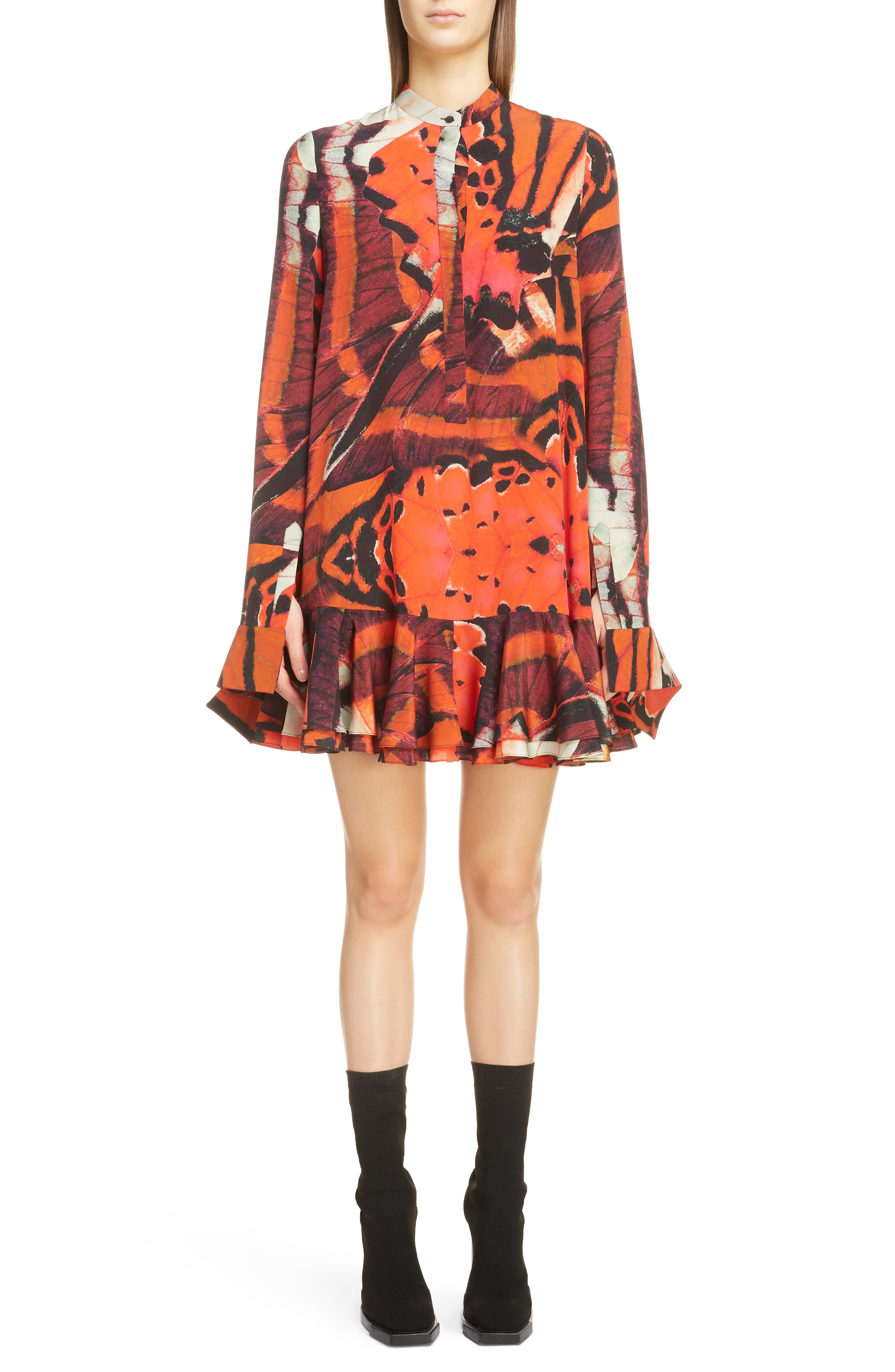 Alexander Mcqueen Butterfly Print Ruffle Hem Silk Dress, 6 IT - Red