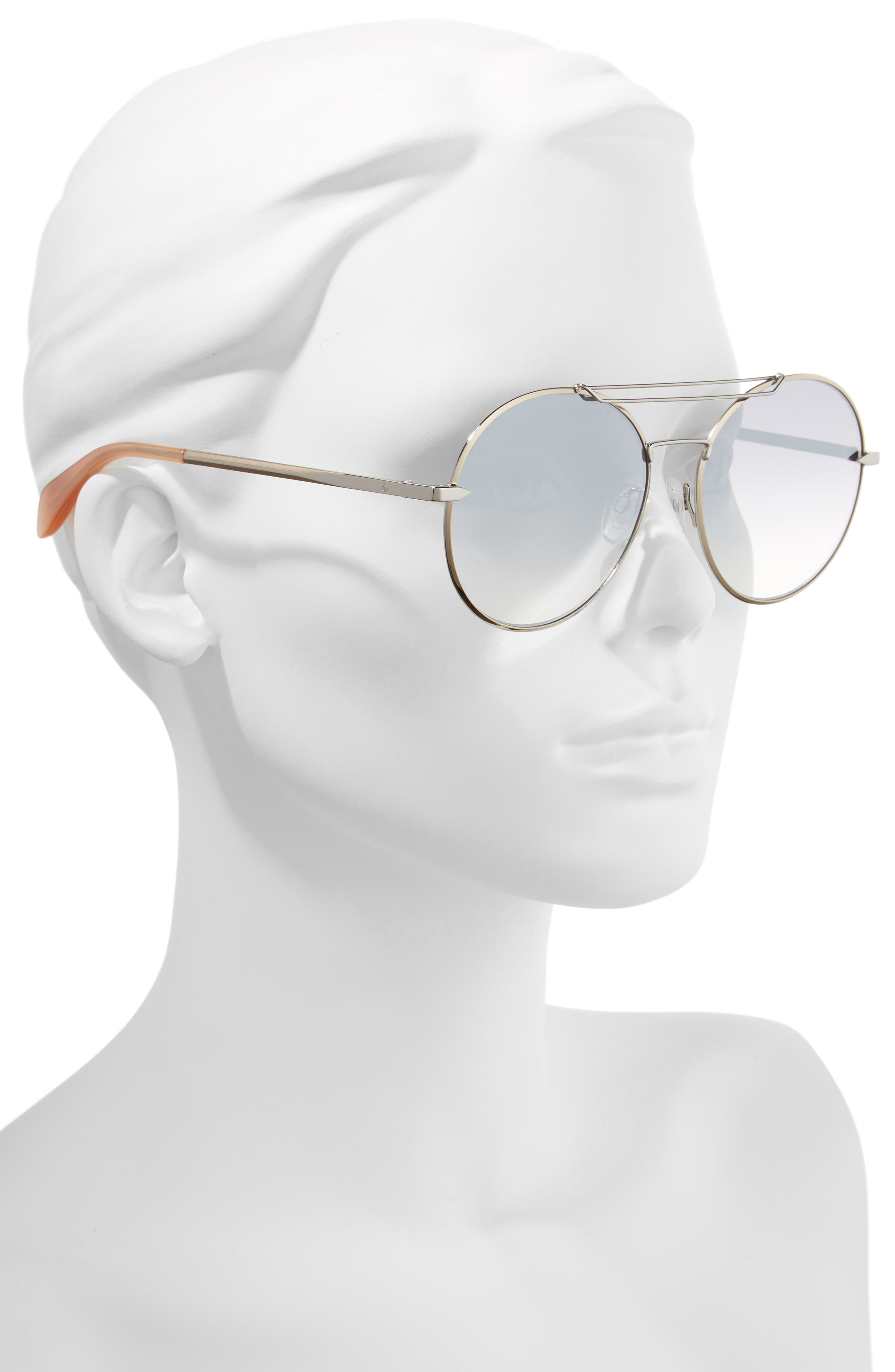 59mm Round Metal Aviator Sunglasses,                             Alternate thumbnail 2, color,                             RUTHENIUM