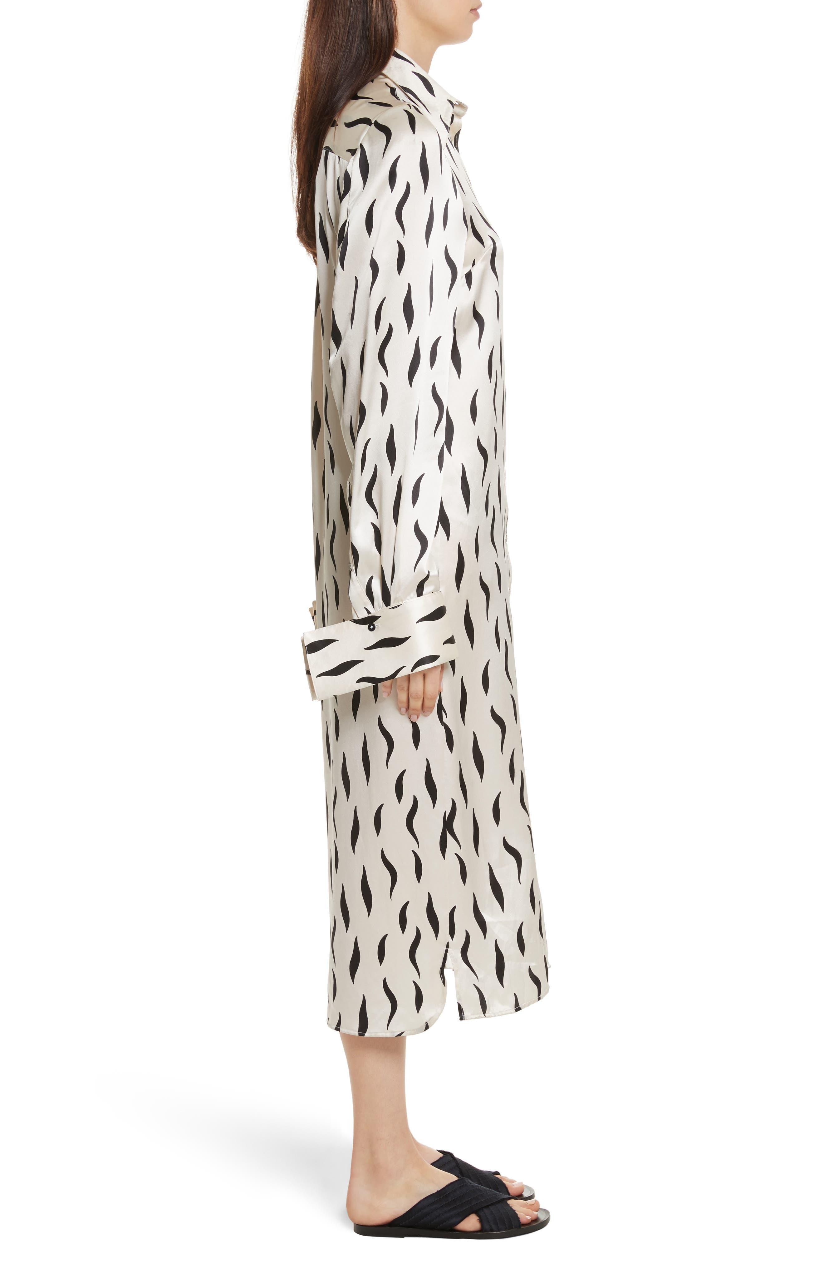 Cassidy Long Zebra Silk Dress,                             Alternate thumbnail 3, color,                             906