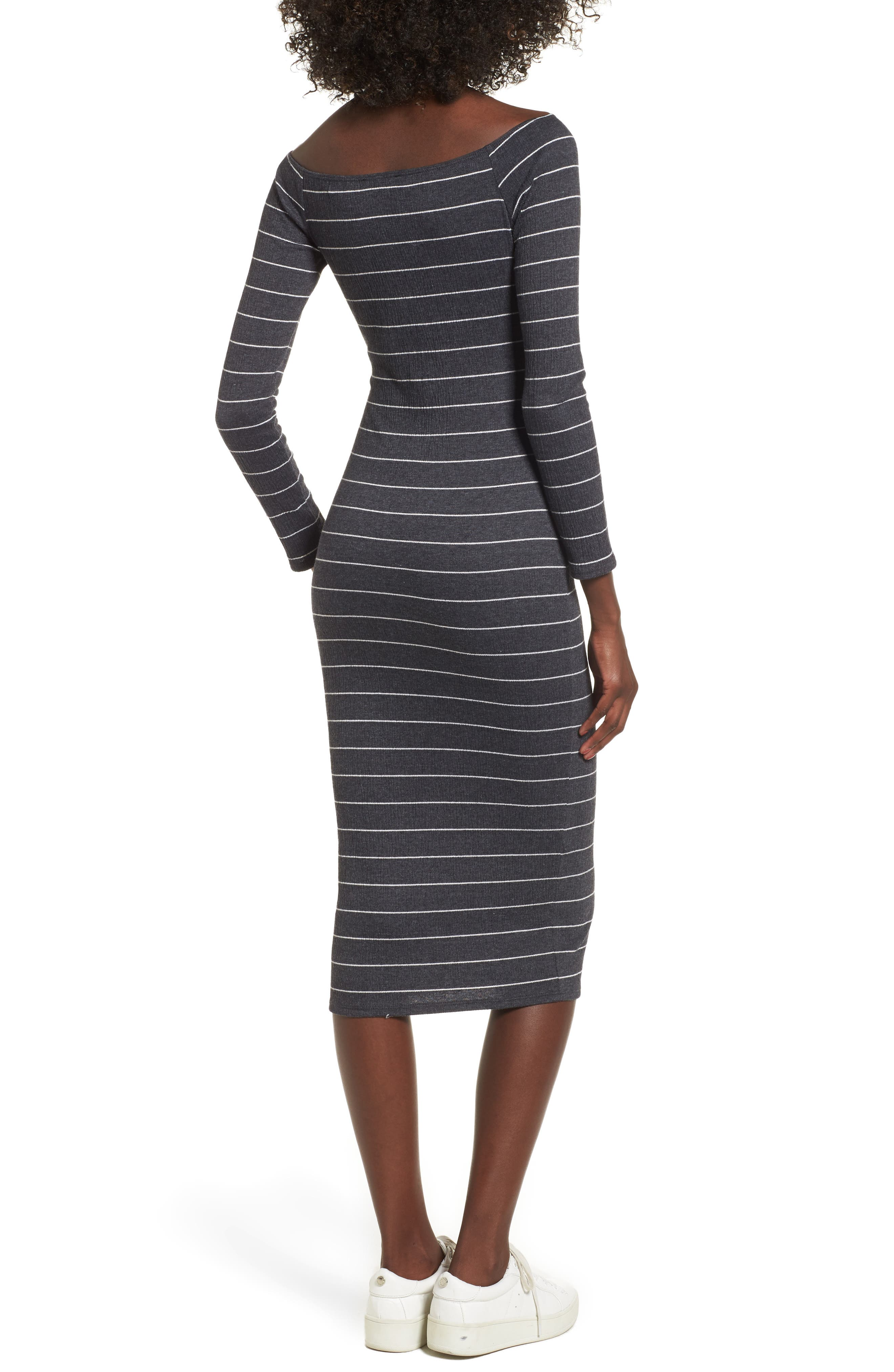 Stripe Off the Shoulder Midi Dress,                             Alternate thumbnail 2, color,                             020
