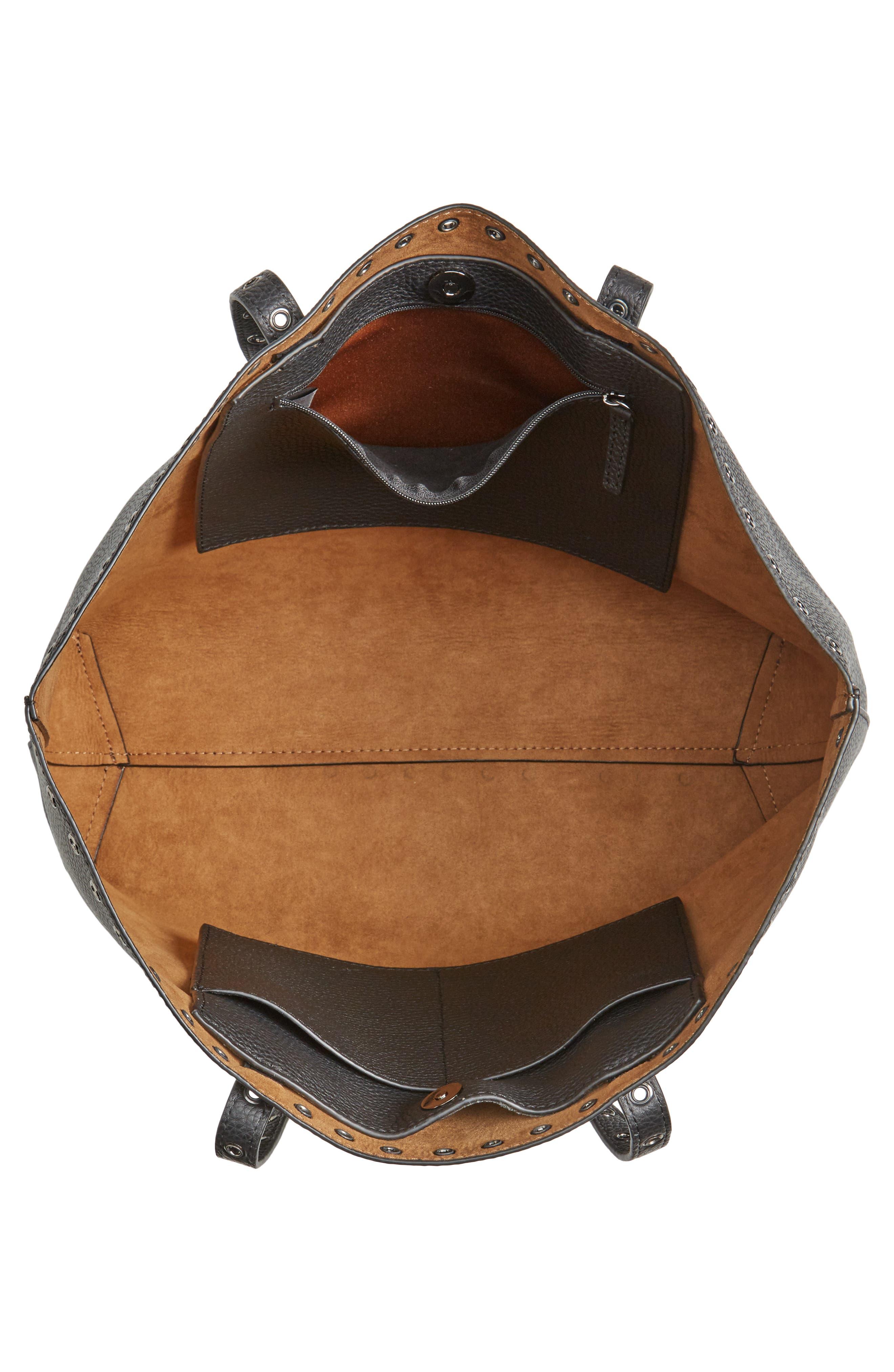 Areli Leather Tote,                             Alternate thumbnail 4, color,                             001