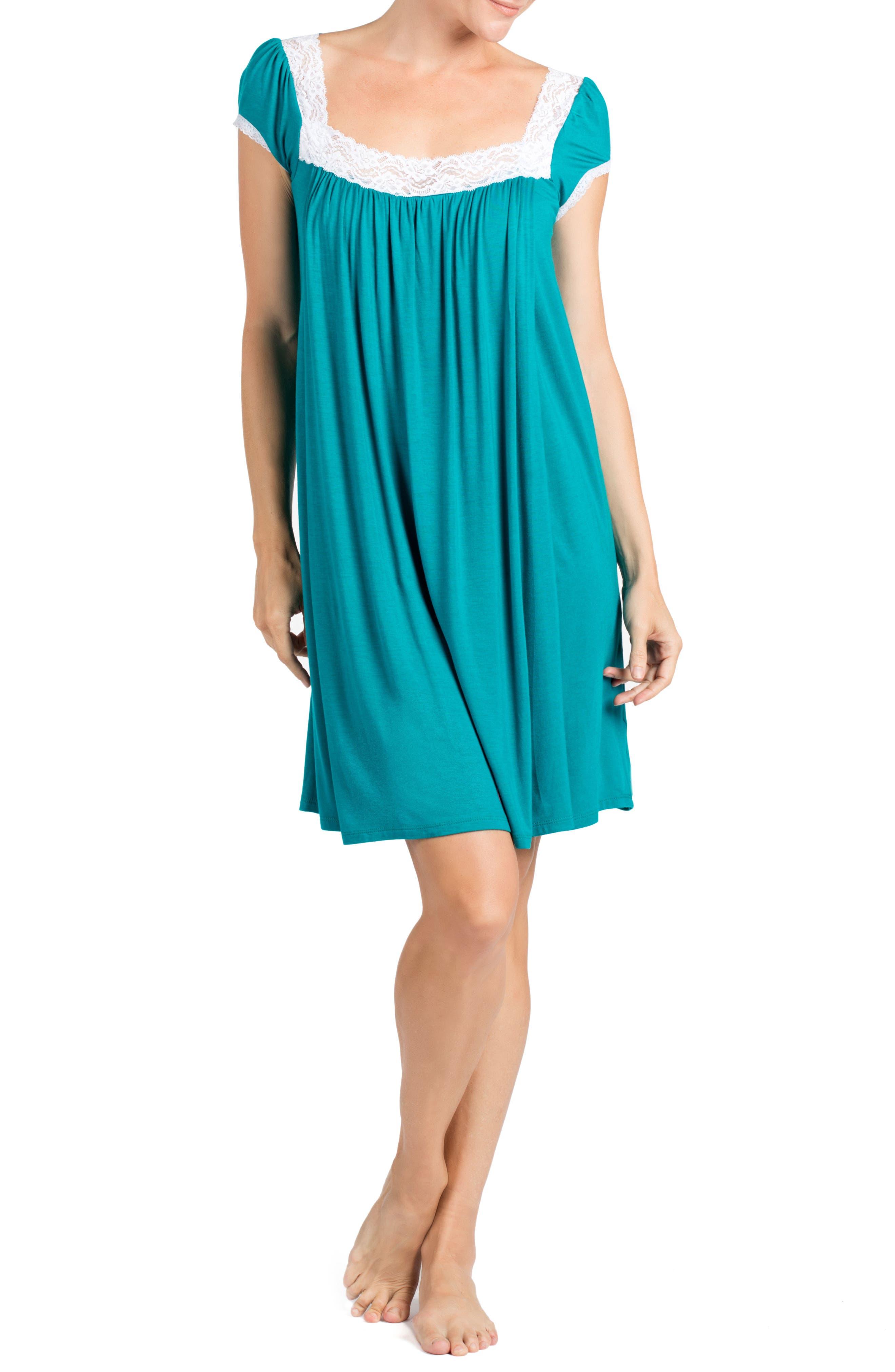 SAVI MOM Joliet Maternity/Nursing Nightgown, Main, color, DARK JADE