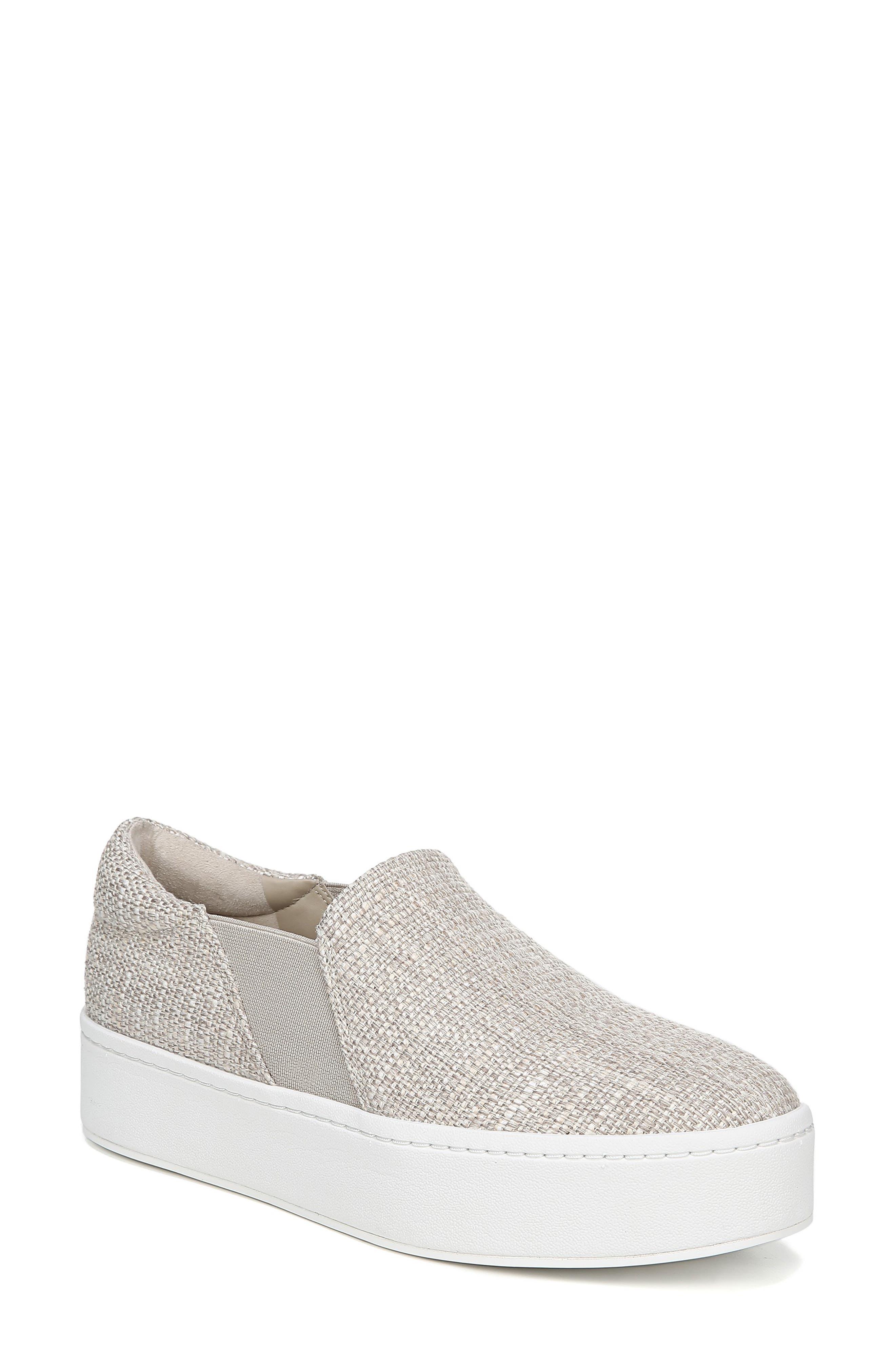 Warren Linen Platform Skate Sneakers in Natural Ecru