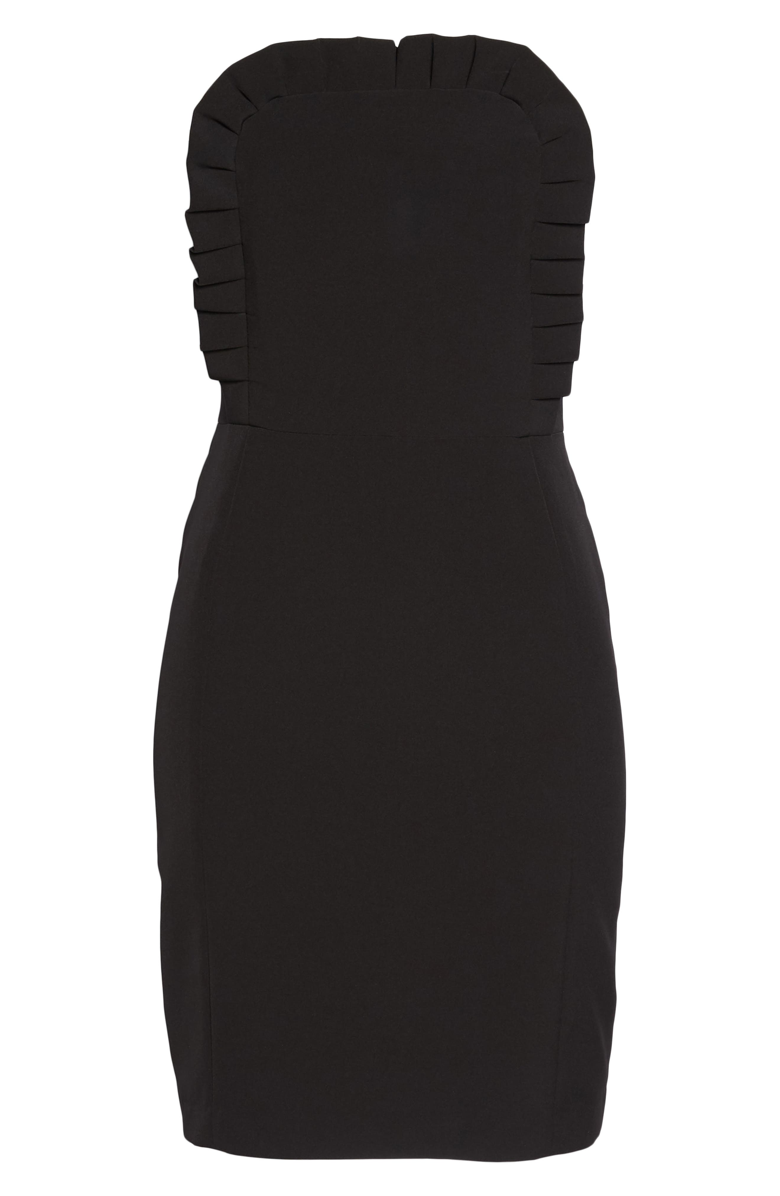Ruffle Apron Detail Strapless Dress,                             Alternate thumbnail 7, color,                             001