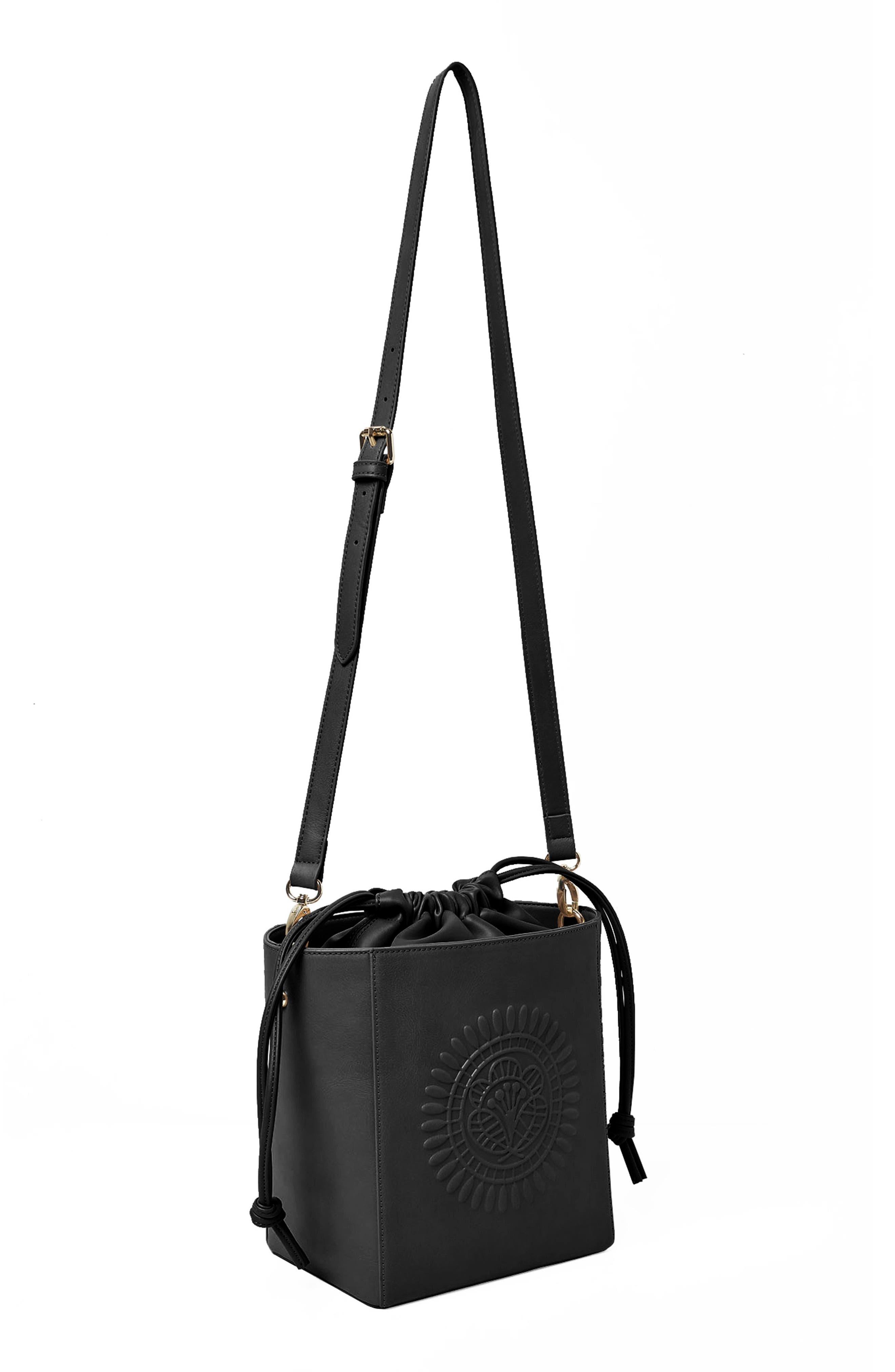 Wanderer Vegan Leather Bucket Bag,                             Alternate thumbnail 3, color,                             001