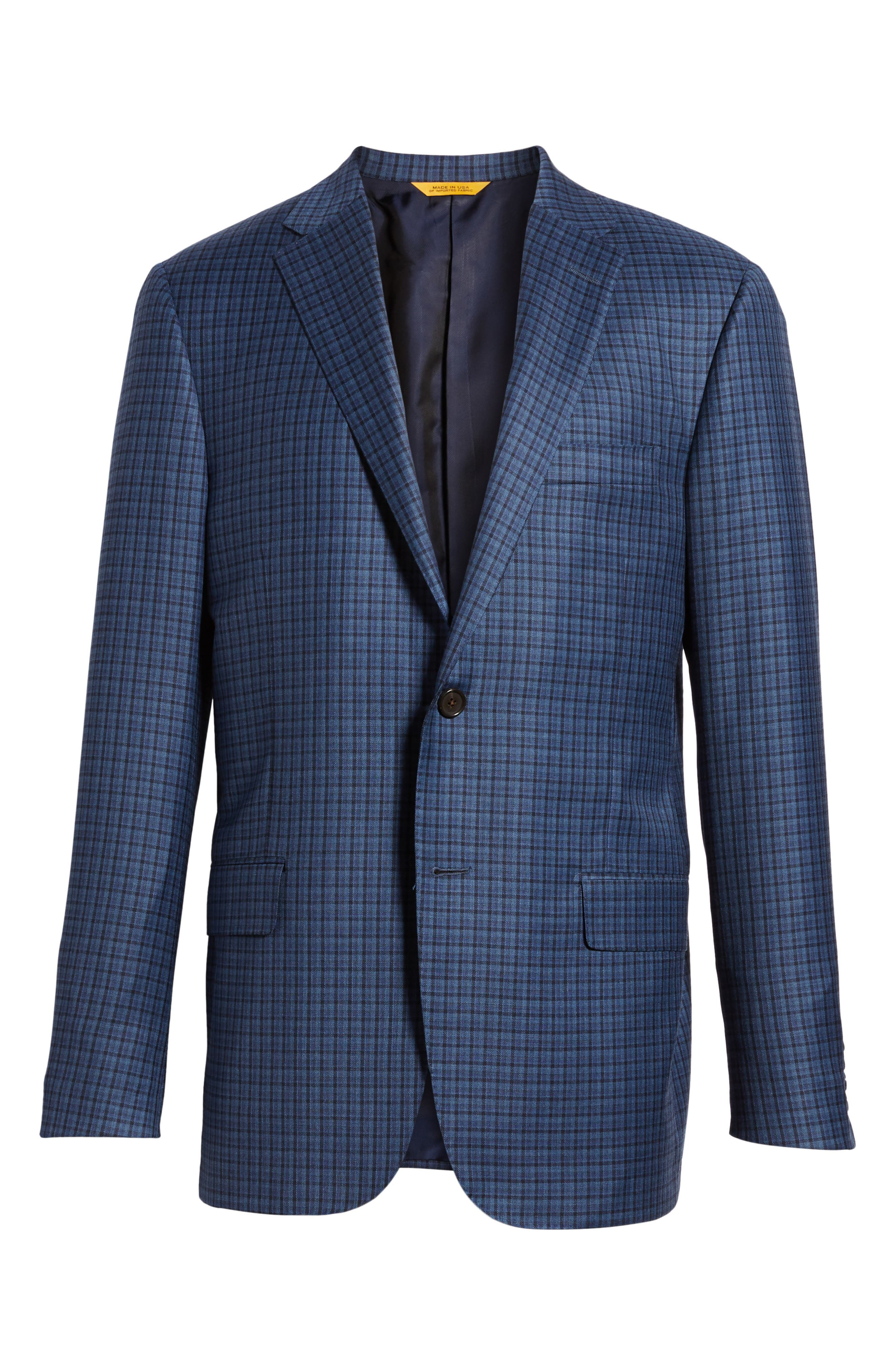 Classic B Fit Check Wool Sport Coat,                             Alternate thumbnail 5, color,                             BLUE PLAID