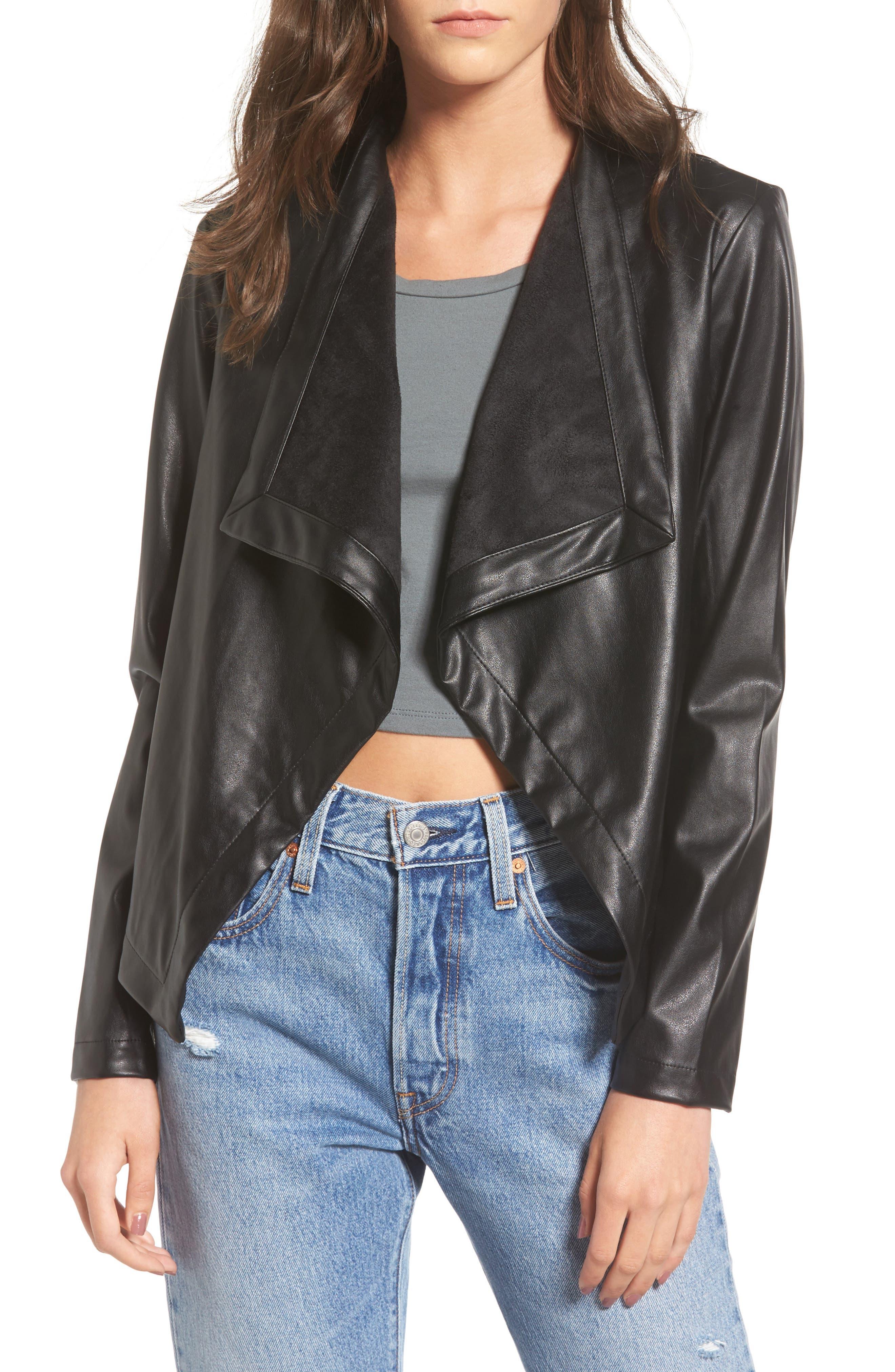 'Peppin' Drape Front Faux Leather Jacket,                             Main thumbnail 3, color,