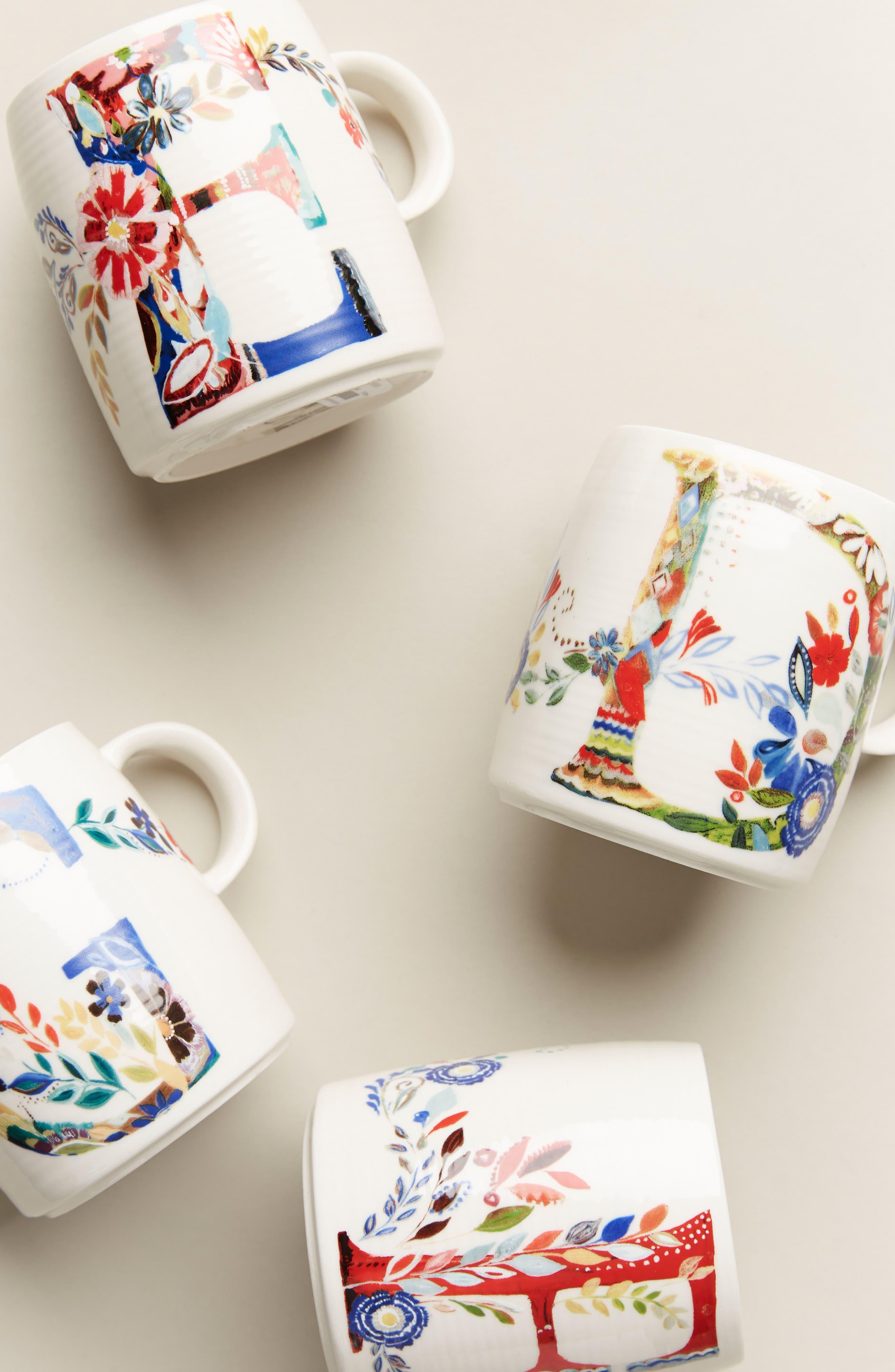 ANTHROPOLOGIE Petal Palette Monogram Mug, Main, color, PINK - F