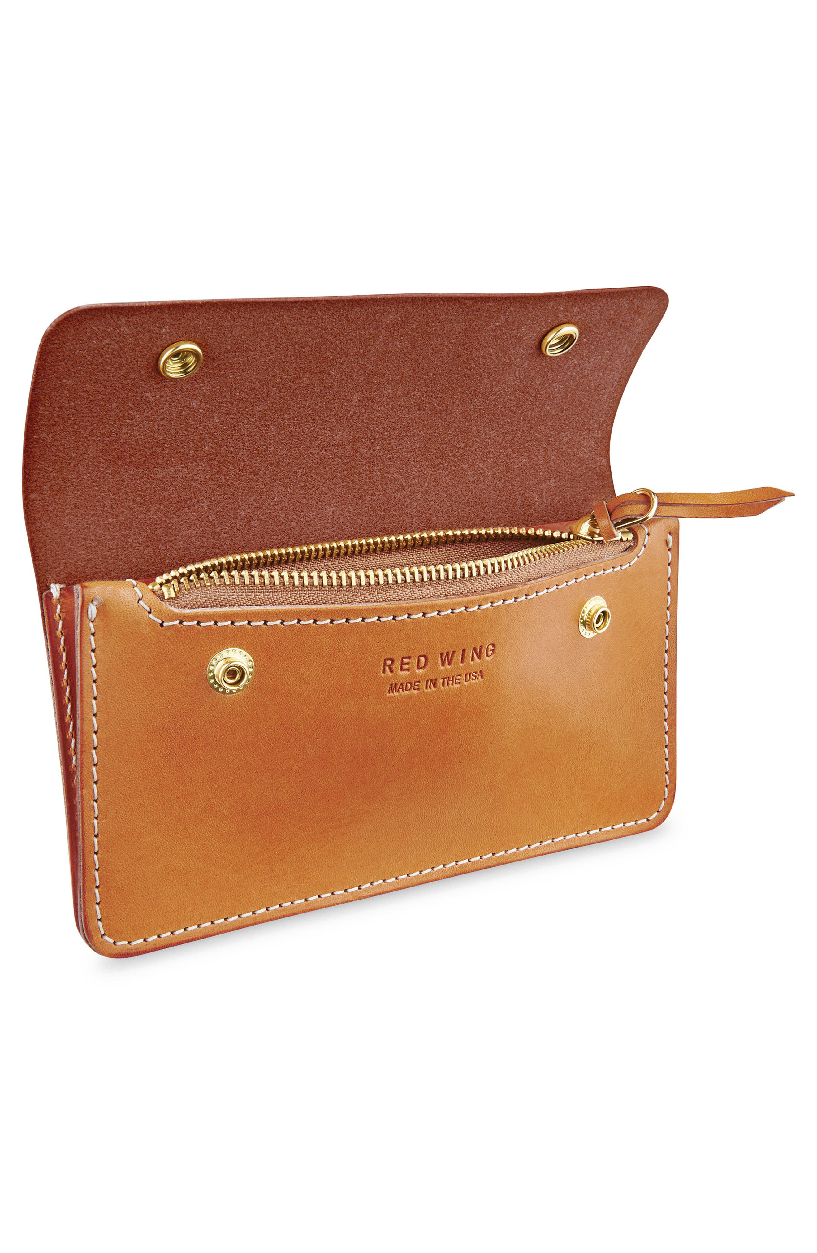 Leather Trucker Wallet,                             Alternate thumbnail 2, color,                             TANNED VEGETABLE