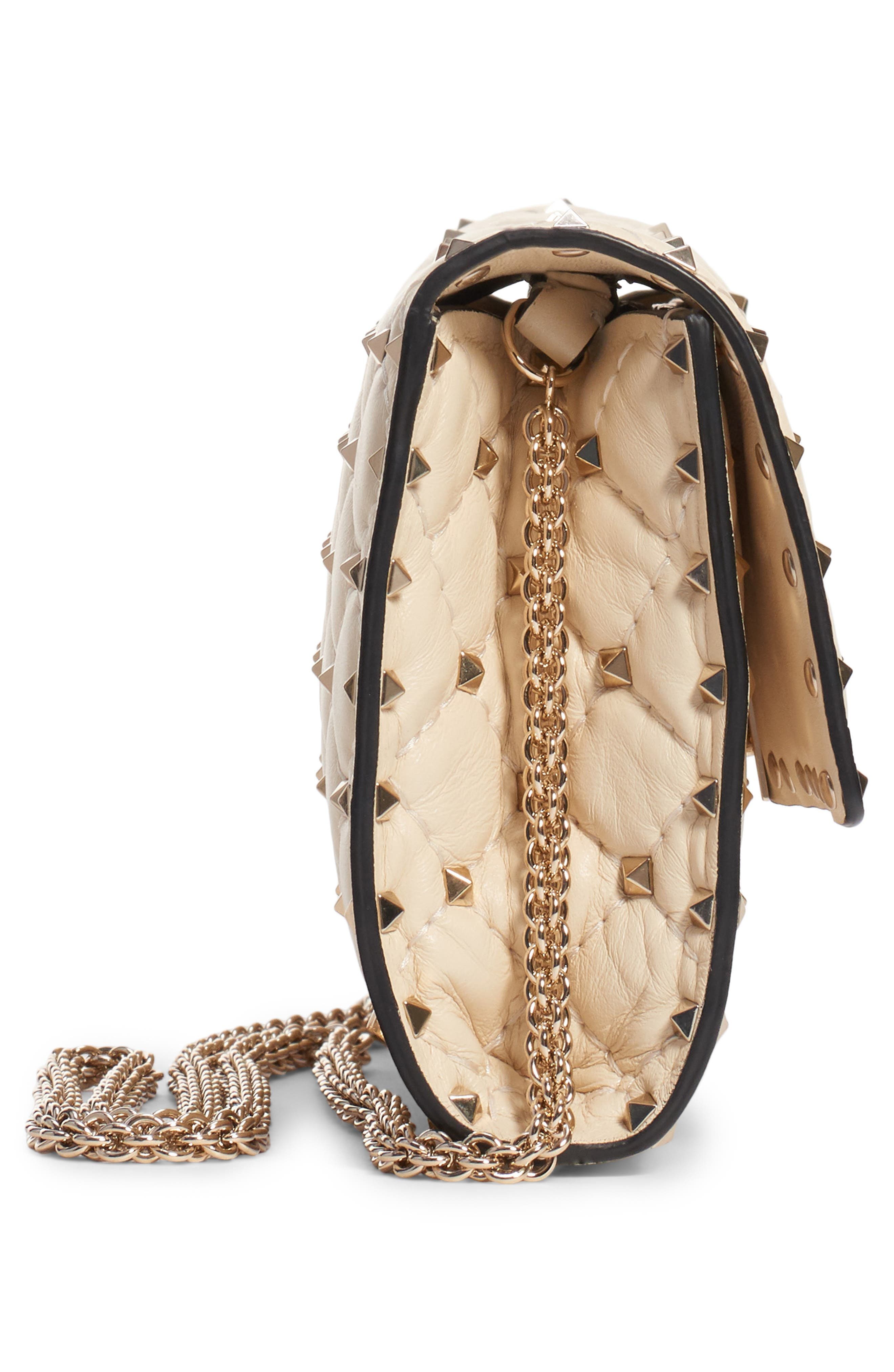 Rockstud Matelassé Quilted Leather Crossbody Bag,                             Alternate thumbnail 3, color,                             LIGHT IVORY