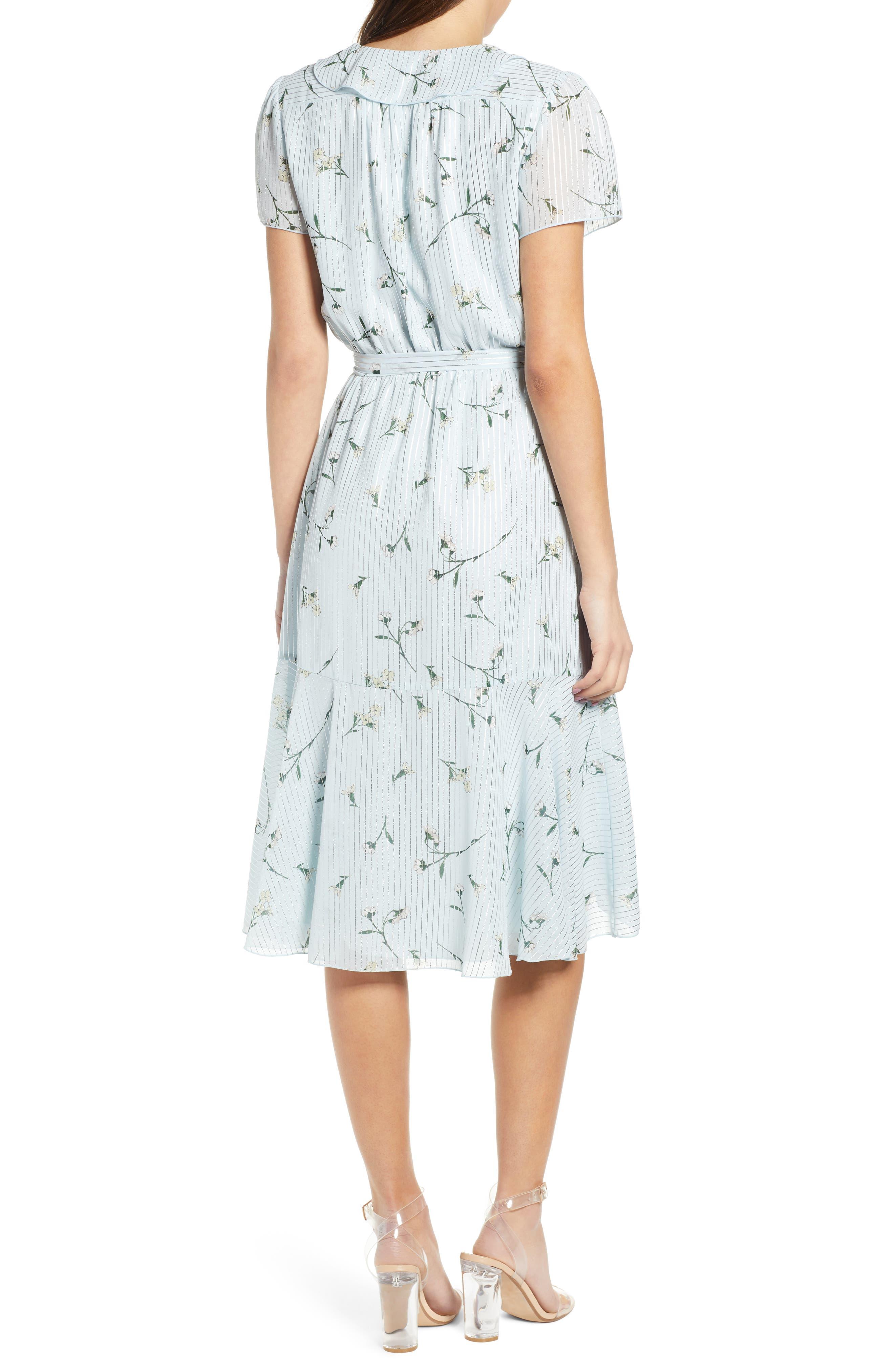 Sutton Wrap Dress,                             Alternate thumbnail 2, color,                             SKY BLUE FLORAL