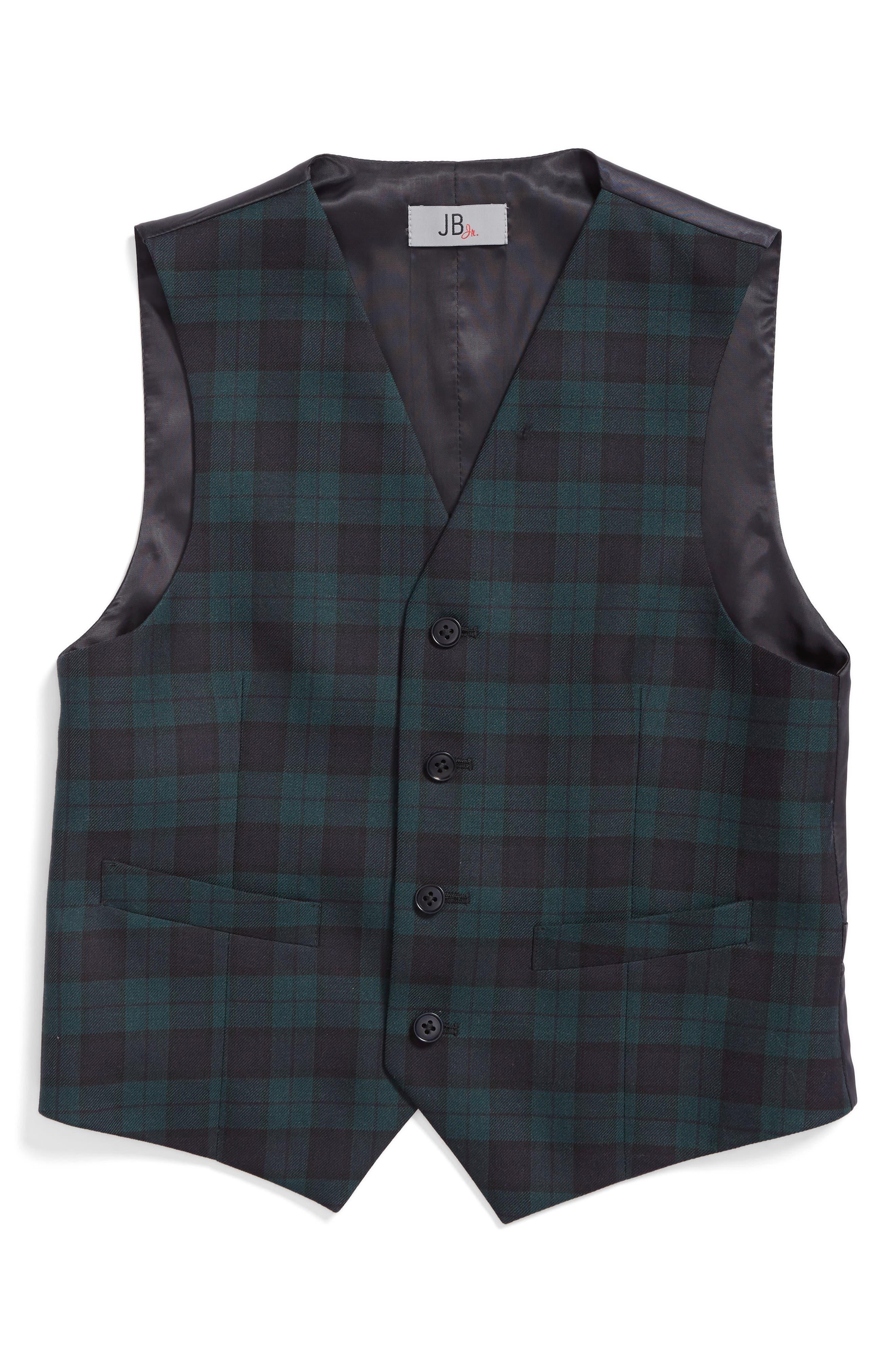 Plaid Wool Vest,                         Main,                         color, 400