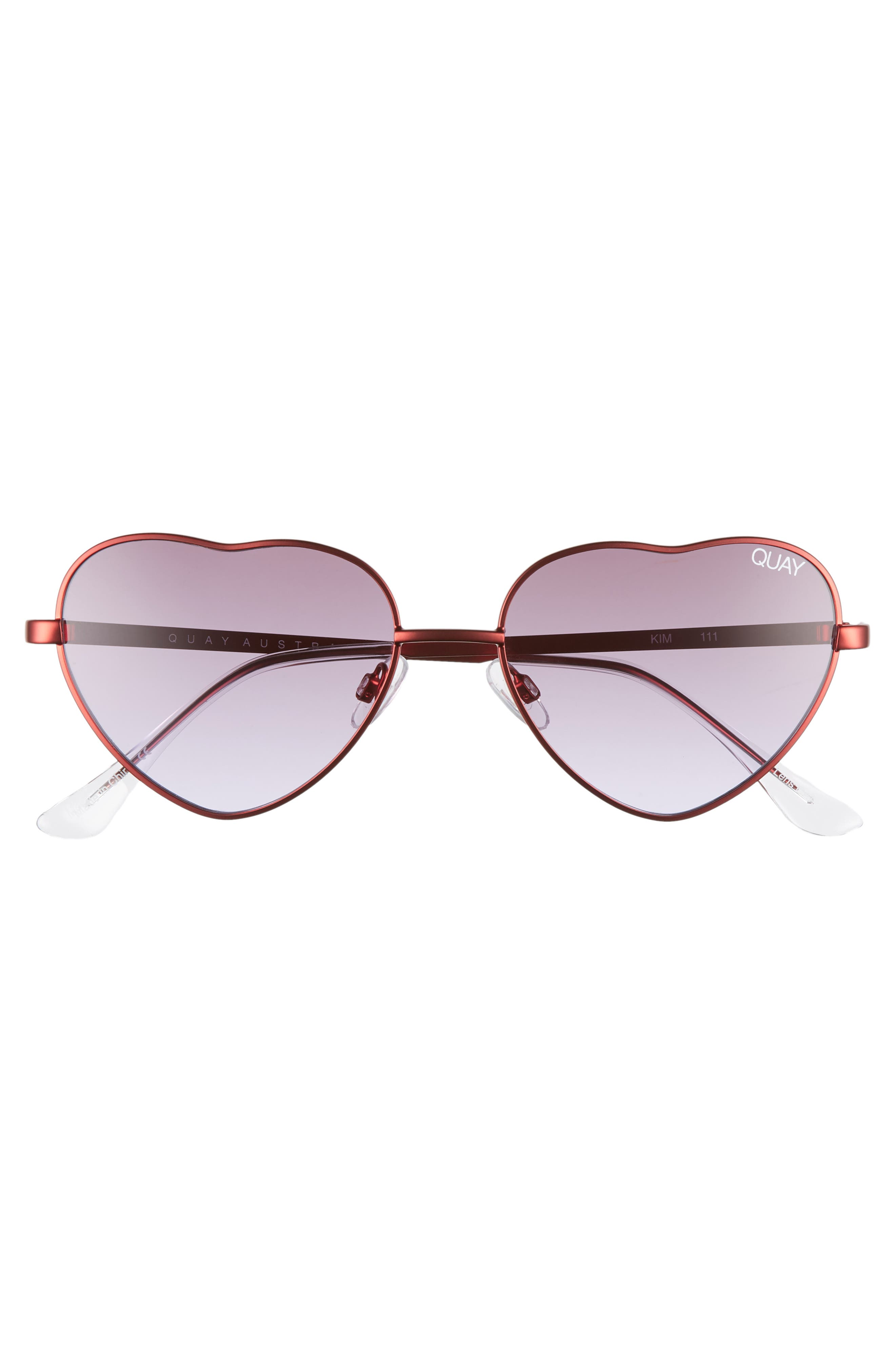 x Elle Ferguson Kim 55mm Heart Sunglasses,                             Alternate thumbnail 3, color,                             RED/ PURPLE FADE