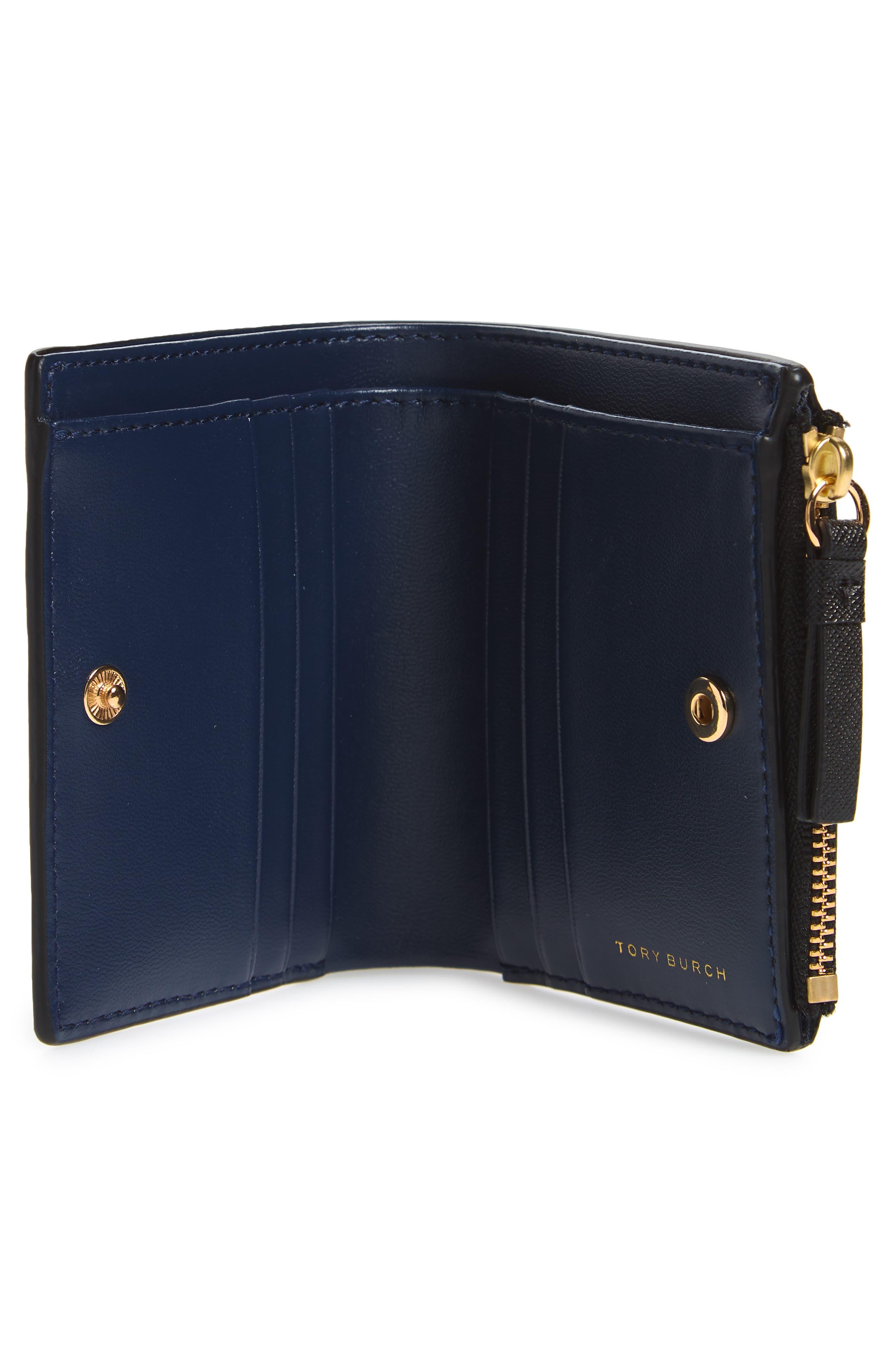 TORY BURCH,                             Mini Robinson Wallet Leather Bifold Wallet,                             Alternate thumbnail 2, color,                             BLACK / ROYAL NAVY