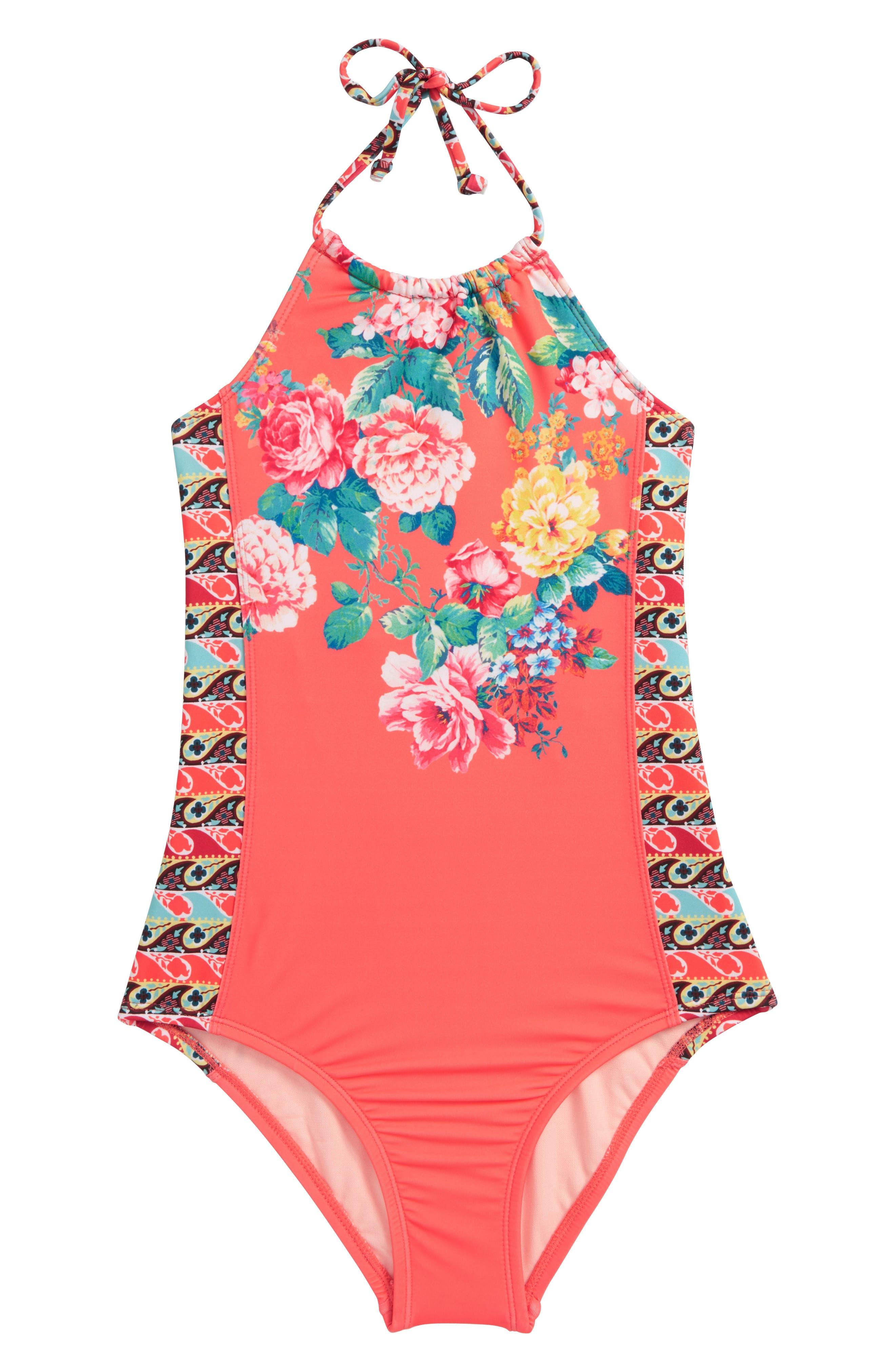 HOBIE,                             Petal Pusher One-Piece Swimsuit,                             Main thumbnail 1, color,                             830