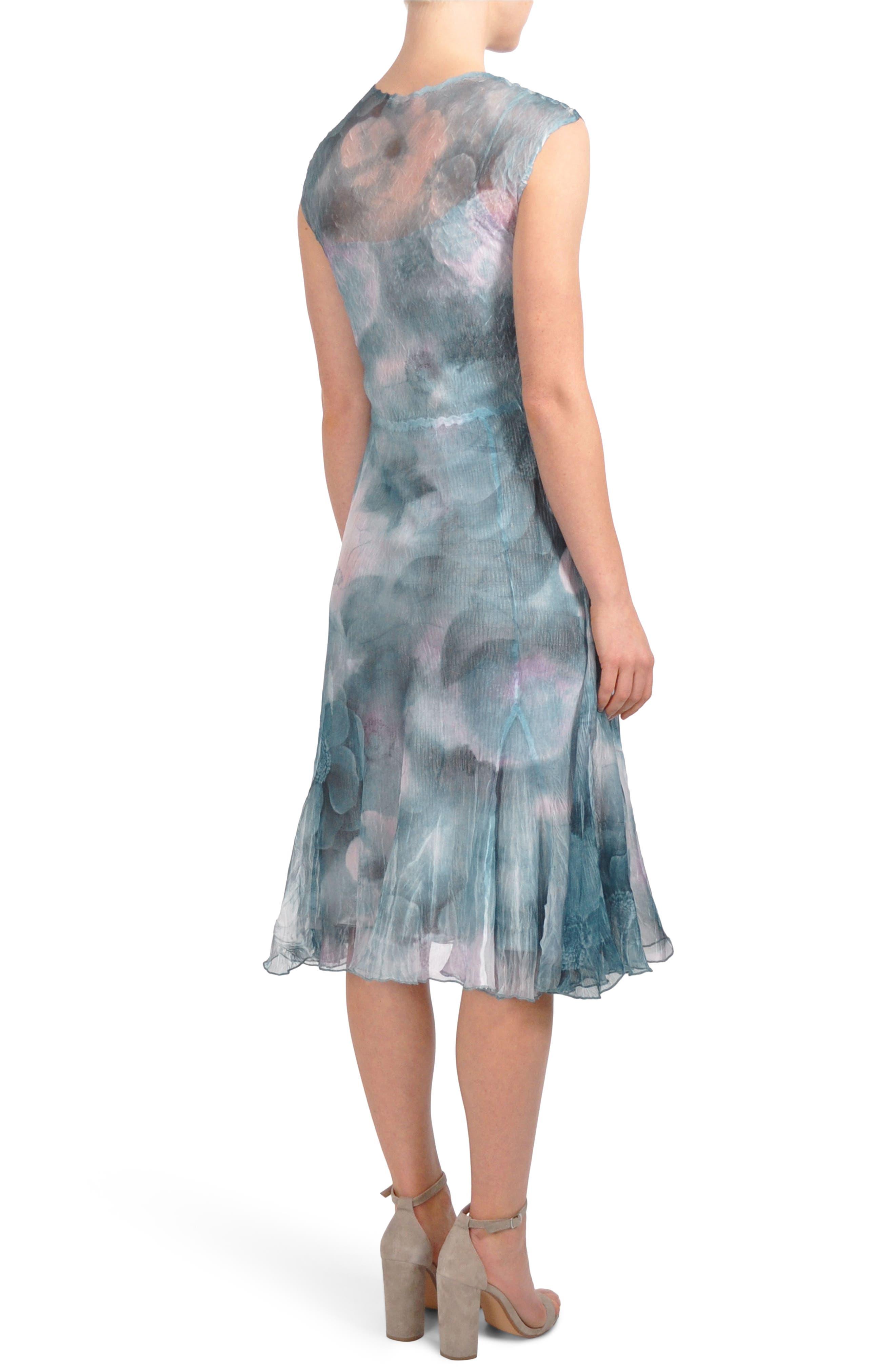 Print Chiffon A-Line Midi Dress,                             Alternate thumbnail 2, color,