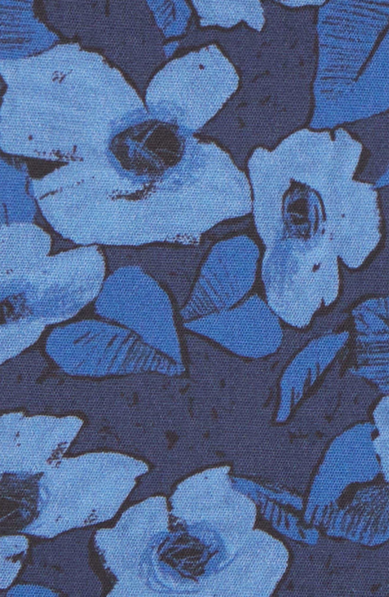 Floral Cotton Pocket Square,                             Alternate thumbnail 3, color,                             NAVY FLORAL