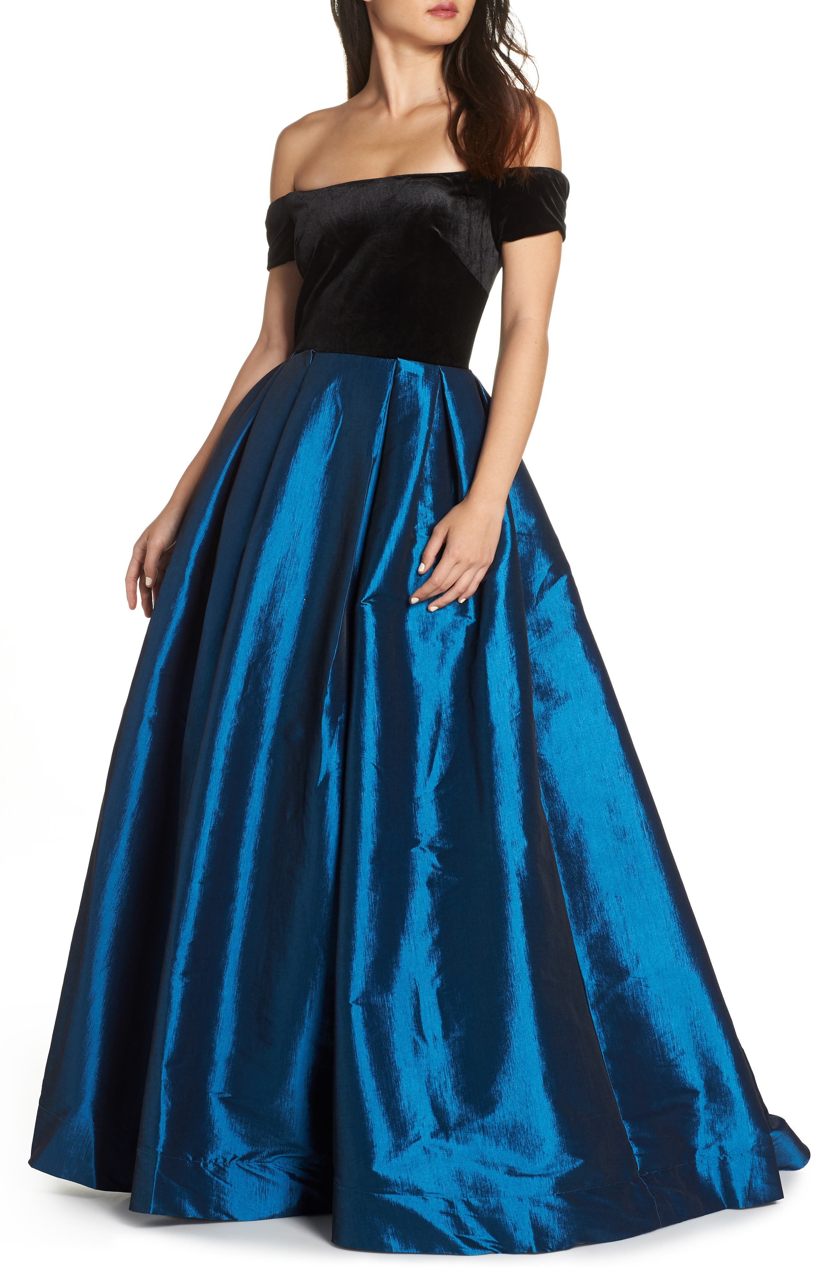 MAC DUGGAL Off-The-Shoulder Short-Sleeve Velvet Bodice Taffeta Ball Gown in Teal
