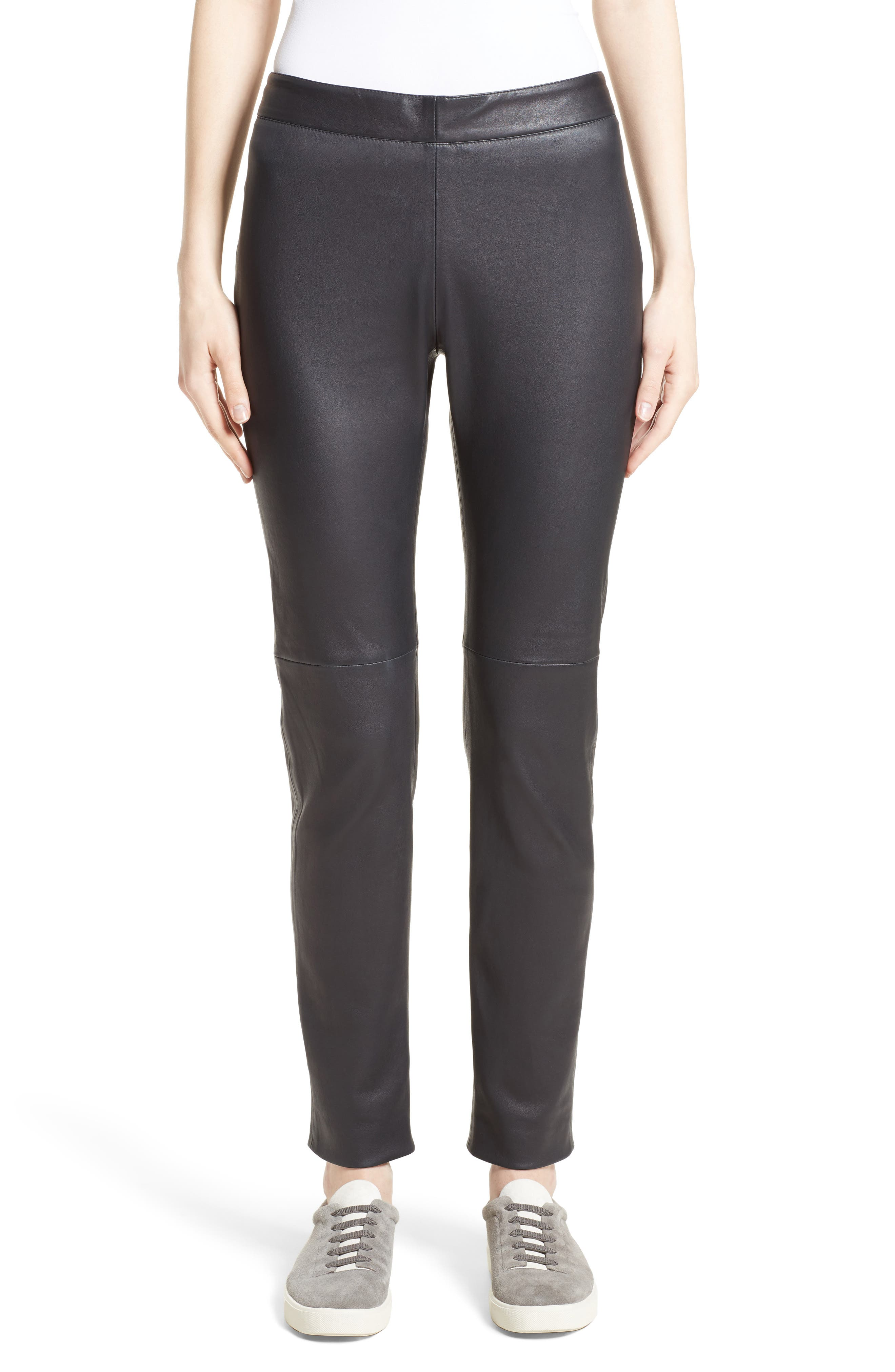 Side Zip Stretch Leather Leggings,                             Main thumbnail 1, color,                             001