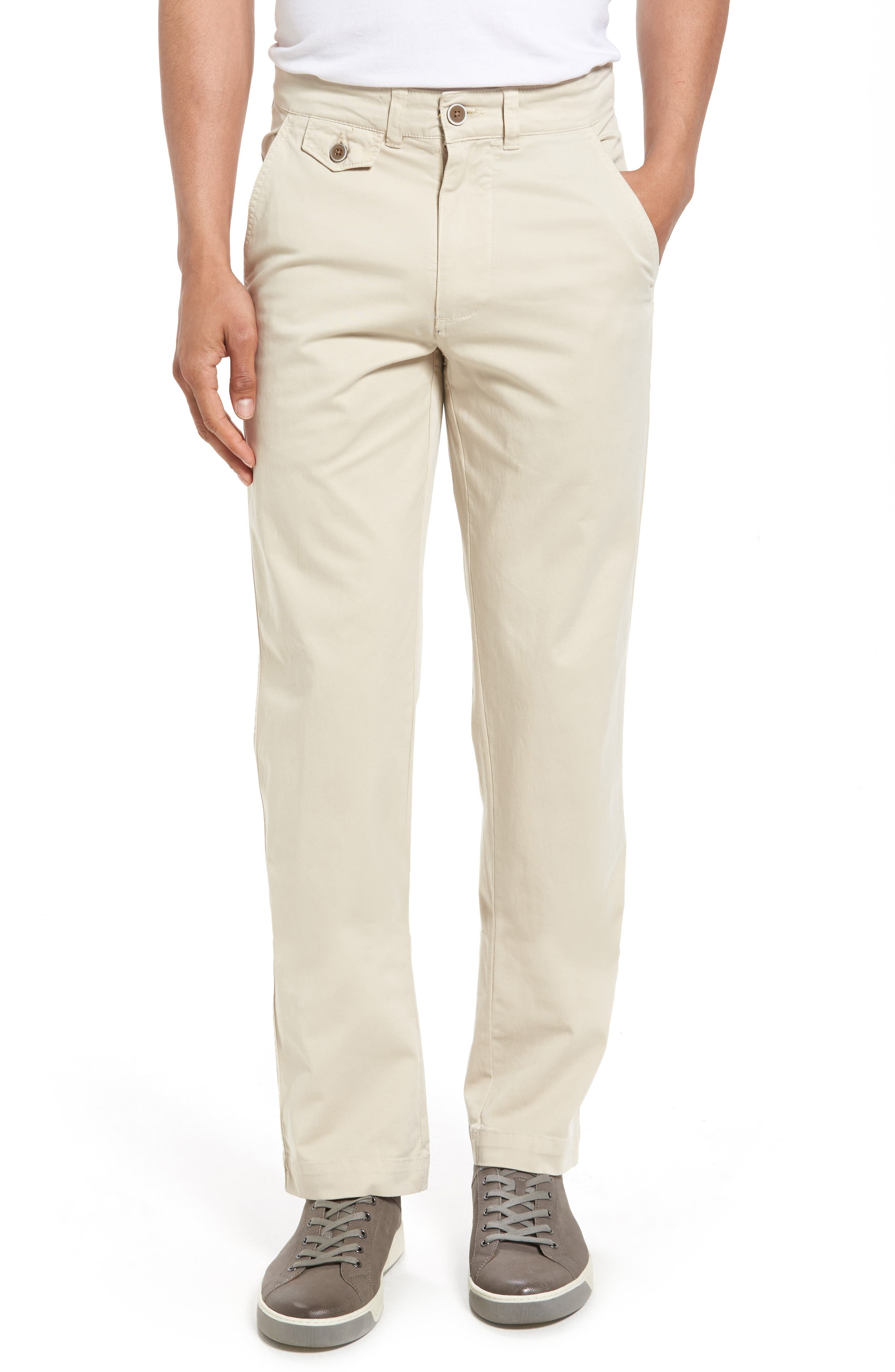 VINTAGE 1946 Sunny Modern Fit Stretch Twill Chinos in Stone