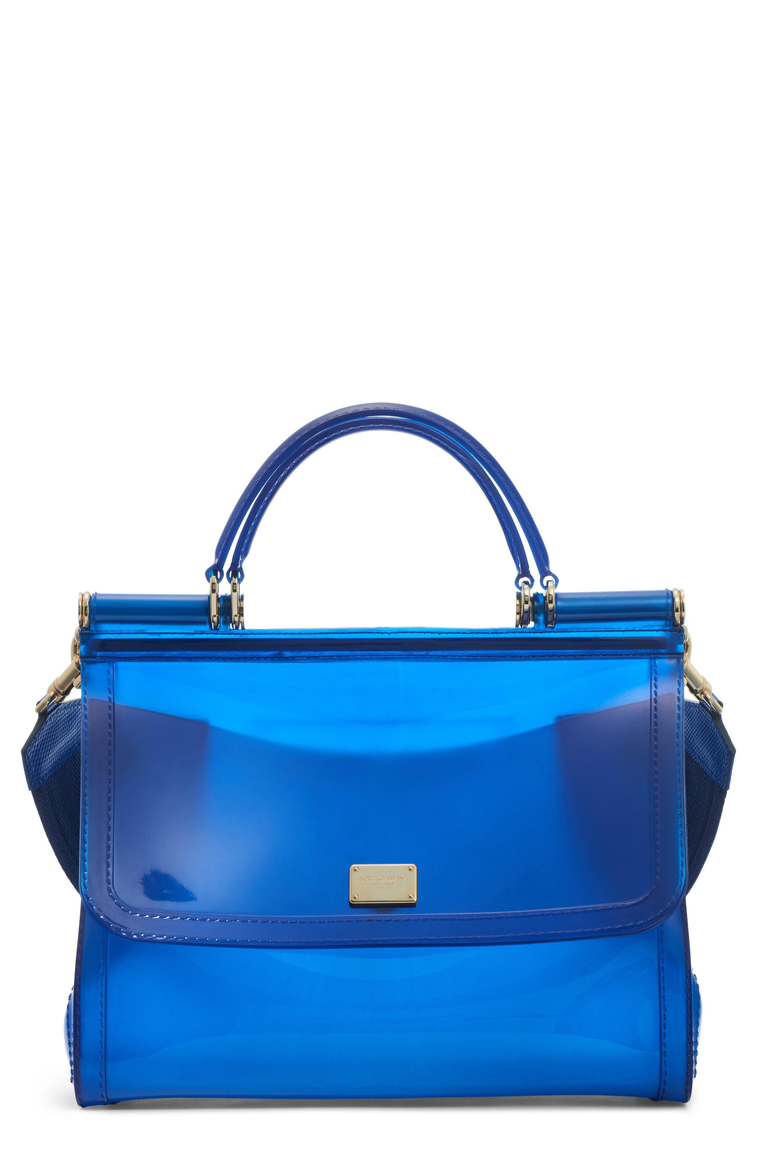 Medium Miss Sicily PVC Satchel,                         Main,                         color, BLUE MULTI