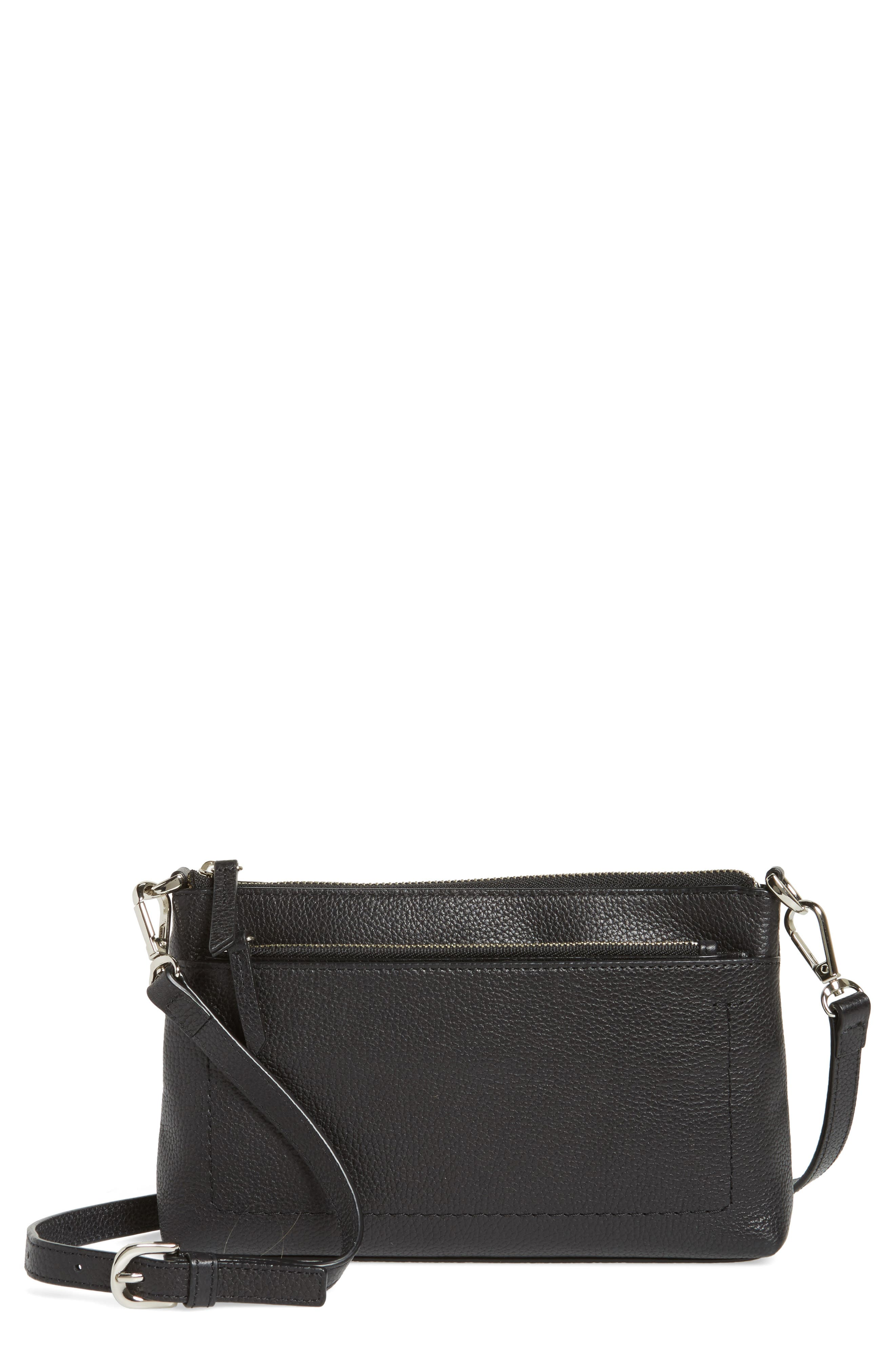 Brixton Convertible Leather Crossbody Bag with Pop-Out Card Holder,                             Main thumbnail 1, color,                             001