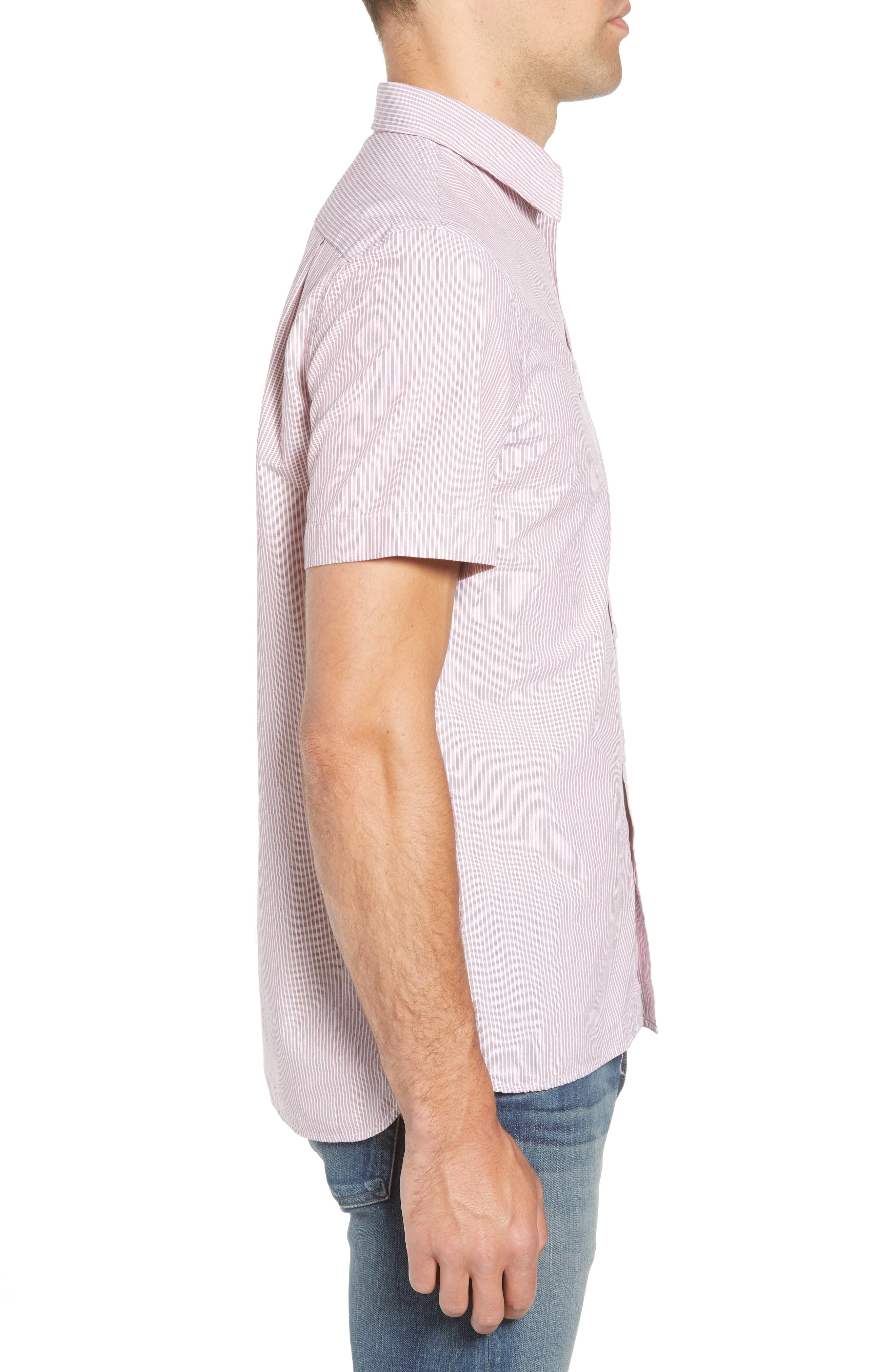 Regular Fit Seersucker Sport Shirt,                             Alternate thumbnail 3, color,                             TOREADOR