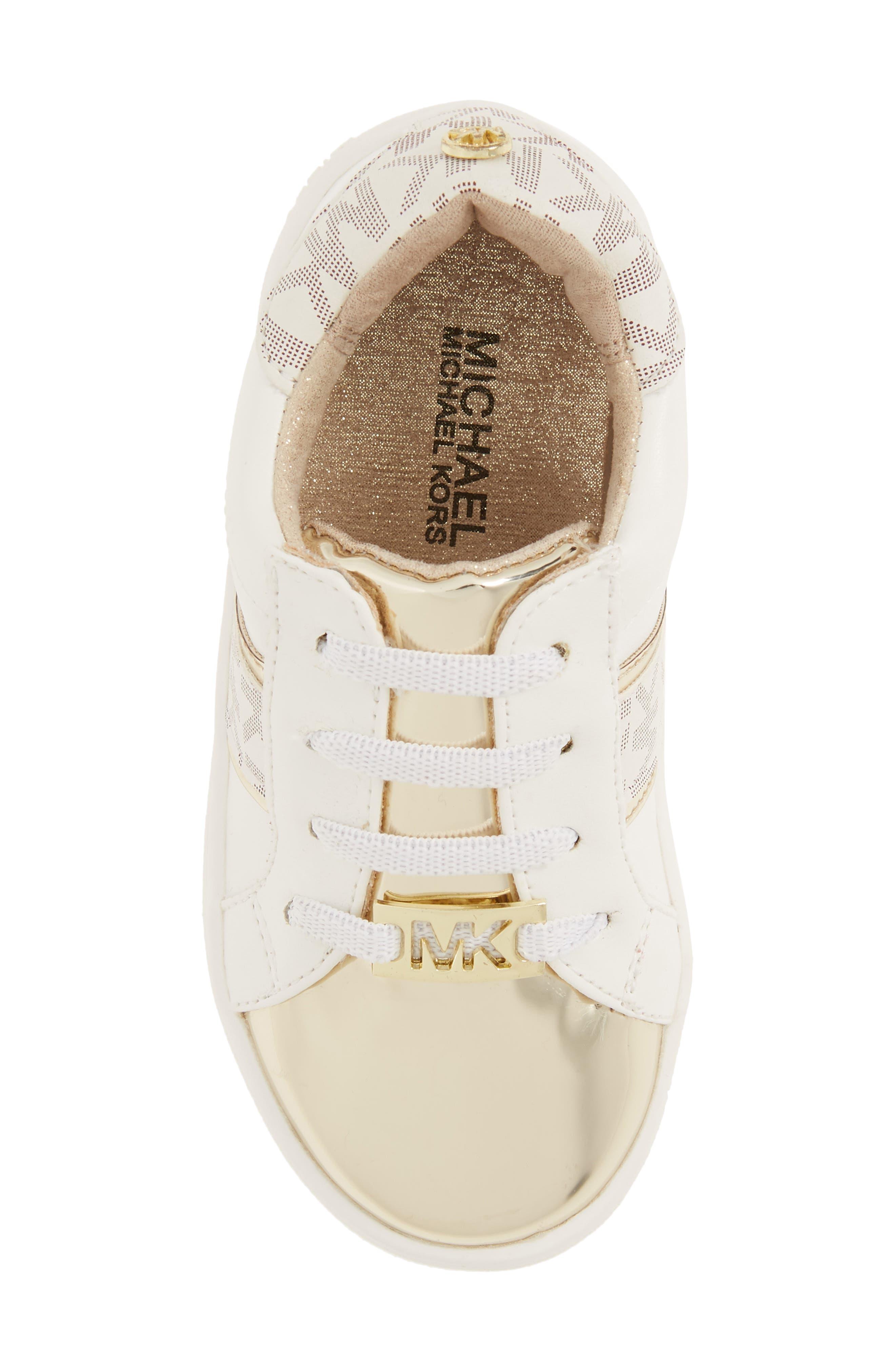 MICHAEL MICHAEL KORS,                             Ivy Frankie Metallic Logo Sneaker,                             Alternate thumbnail 5, color,                             100