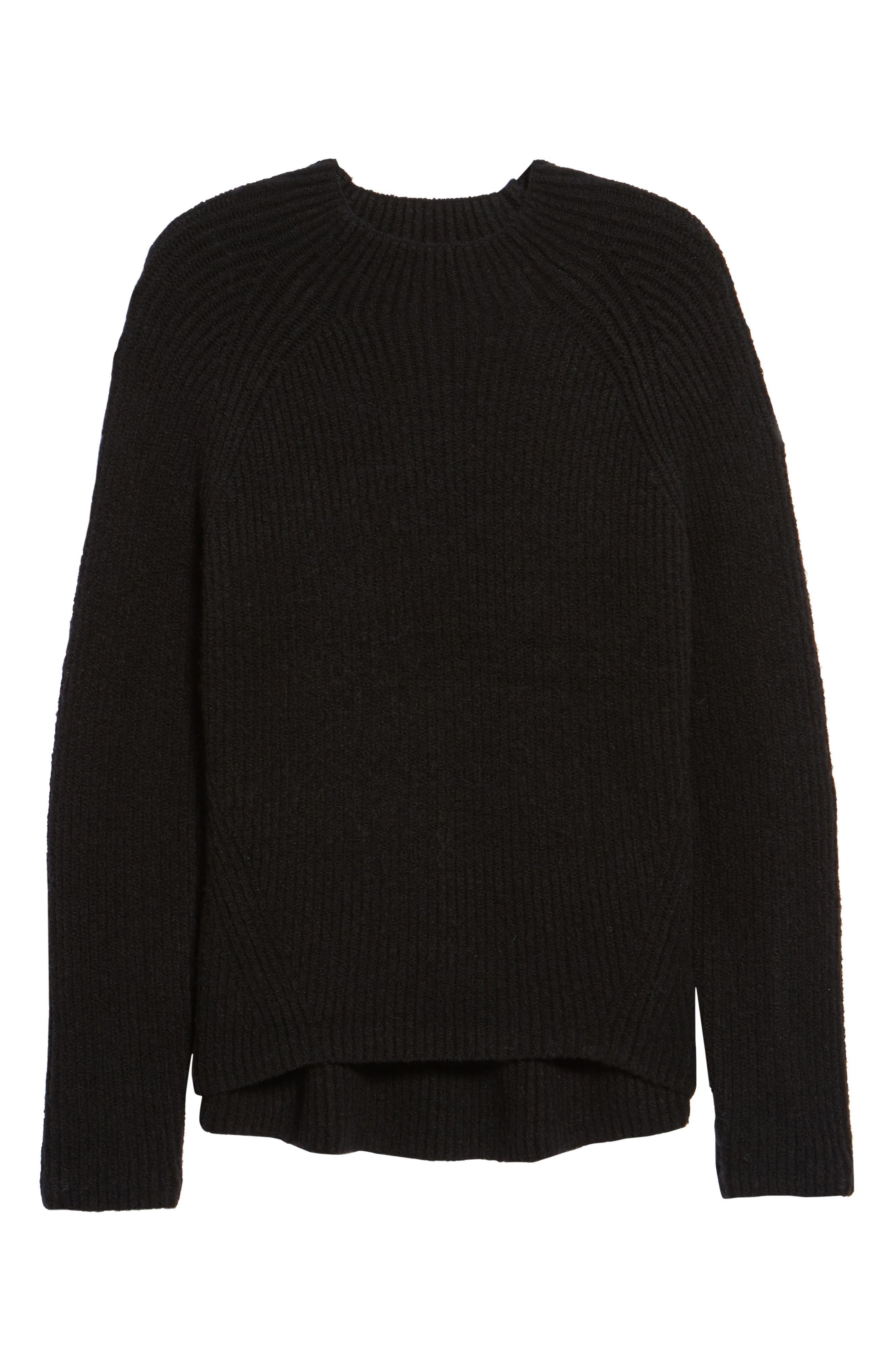 Northfield Mock Neck Sweater,                             Alternate thumbnail 6, color,                             001