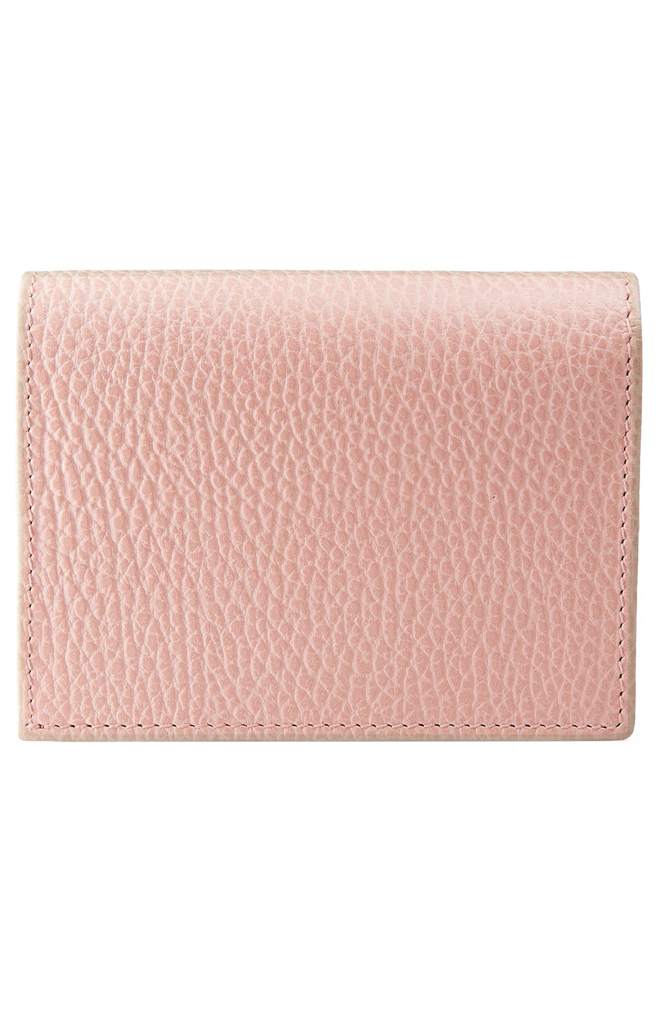Farfalla Leather Card Case,                             Alternate thumbnail 3, color,                             PERFECT PINK/ CRYSTAL