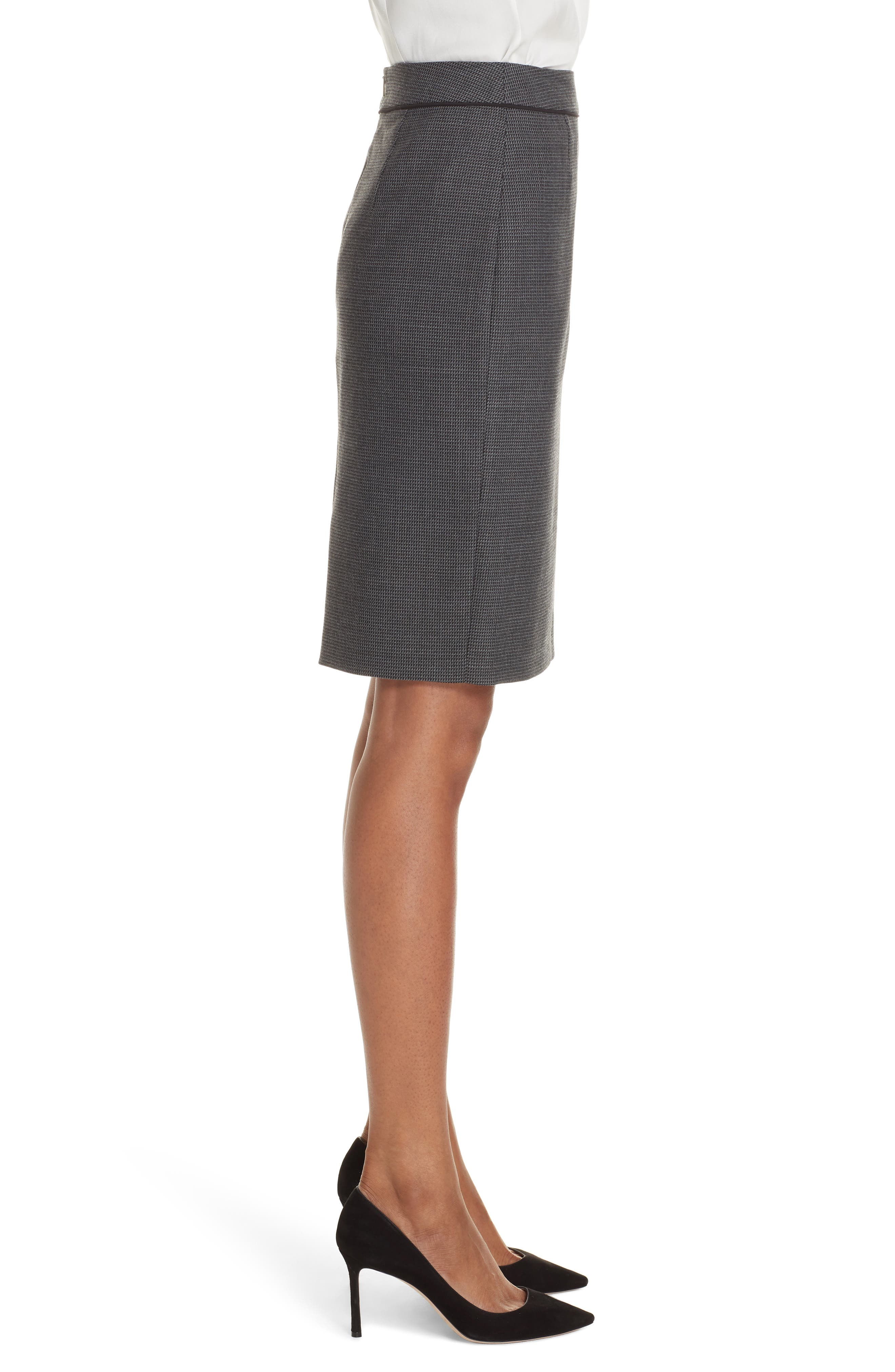 Vorita Geometric Wool Blend Suit Skirt,                             Alternate thumbnail 3, color,                             GREY FANTASY