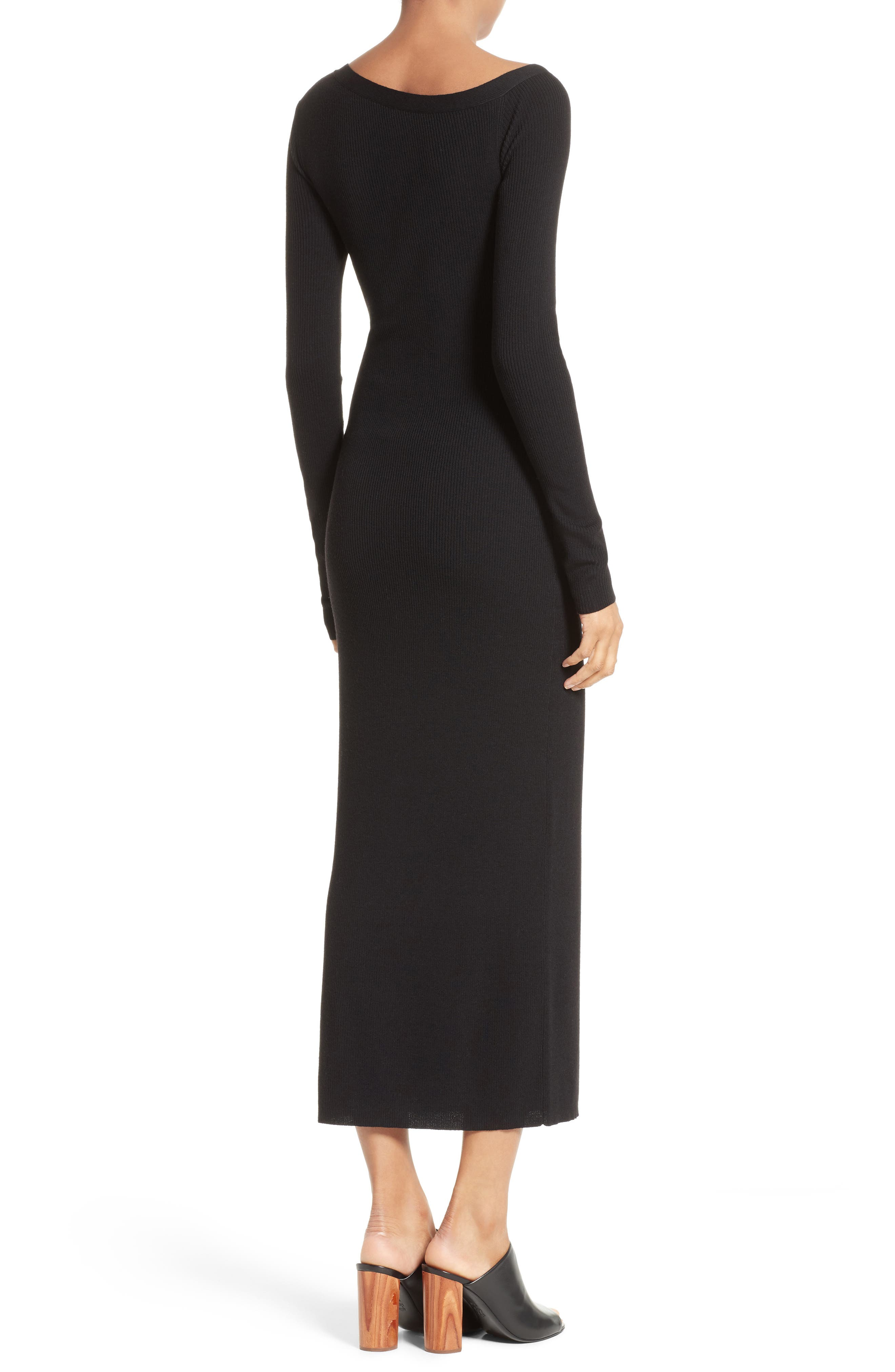 Brynn Merino Wool Blend Midi Dress,                             Alternate thumbnail 2, color,                             001