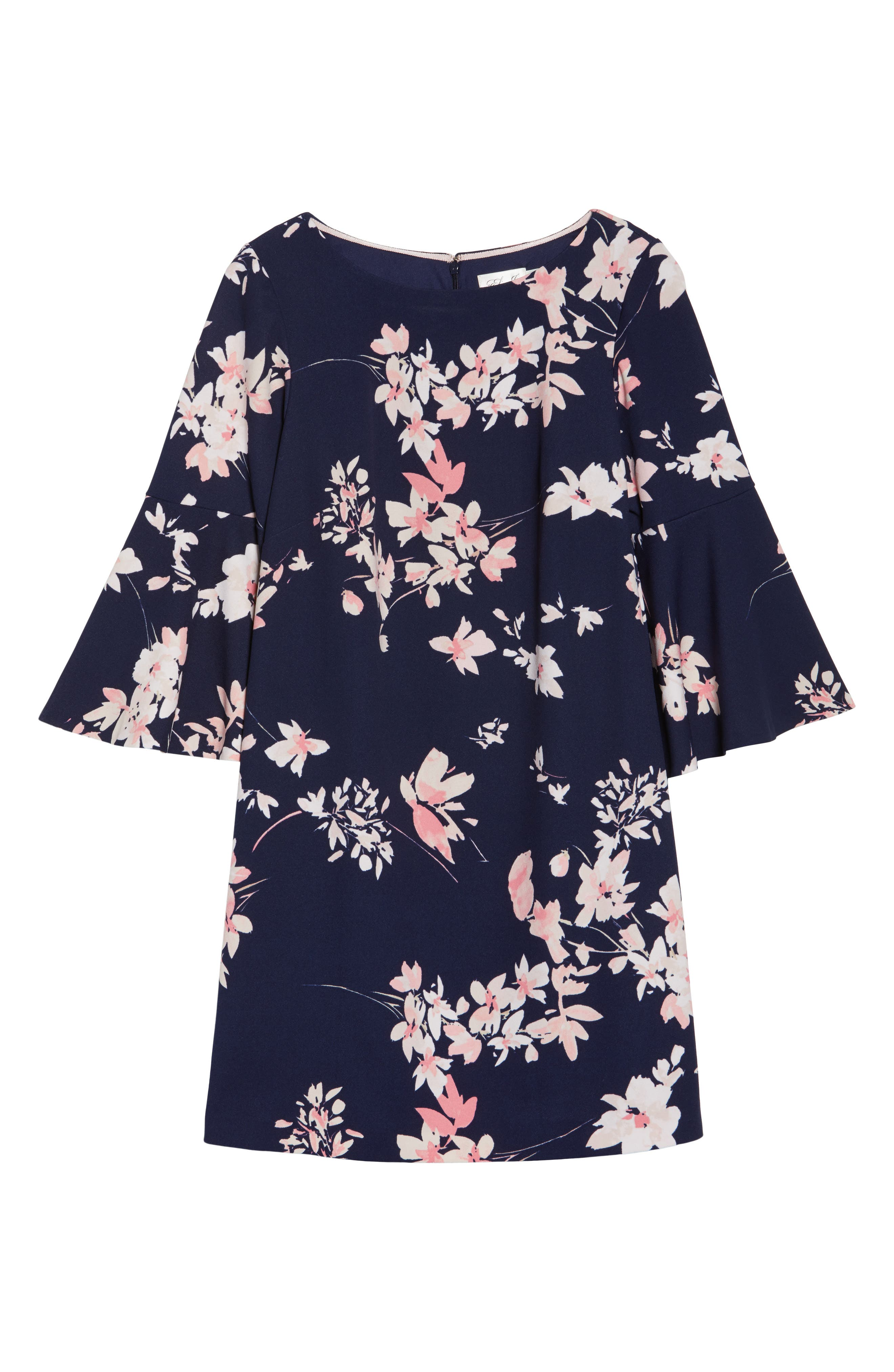 Floral Print Bell Sleeve Shift Dress,                             Alternate thumbnail 6, color,                             NAVY/ PINK