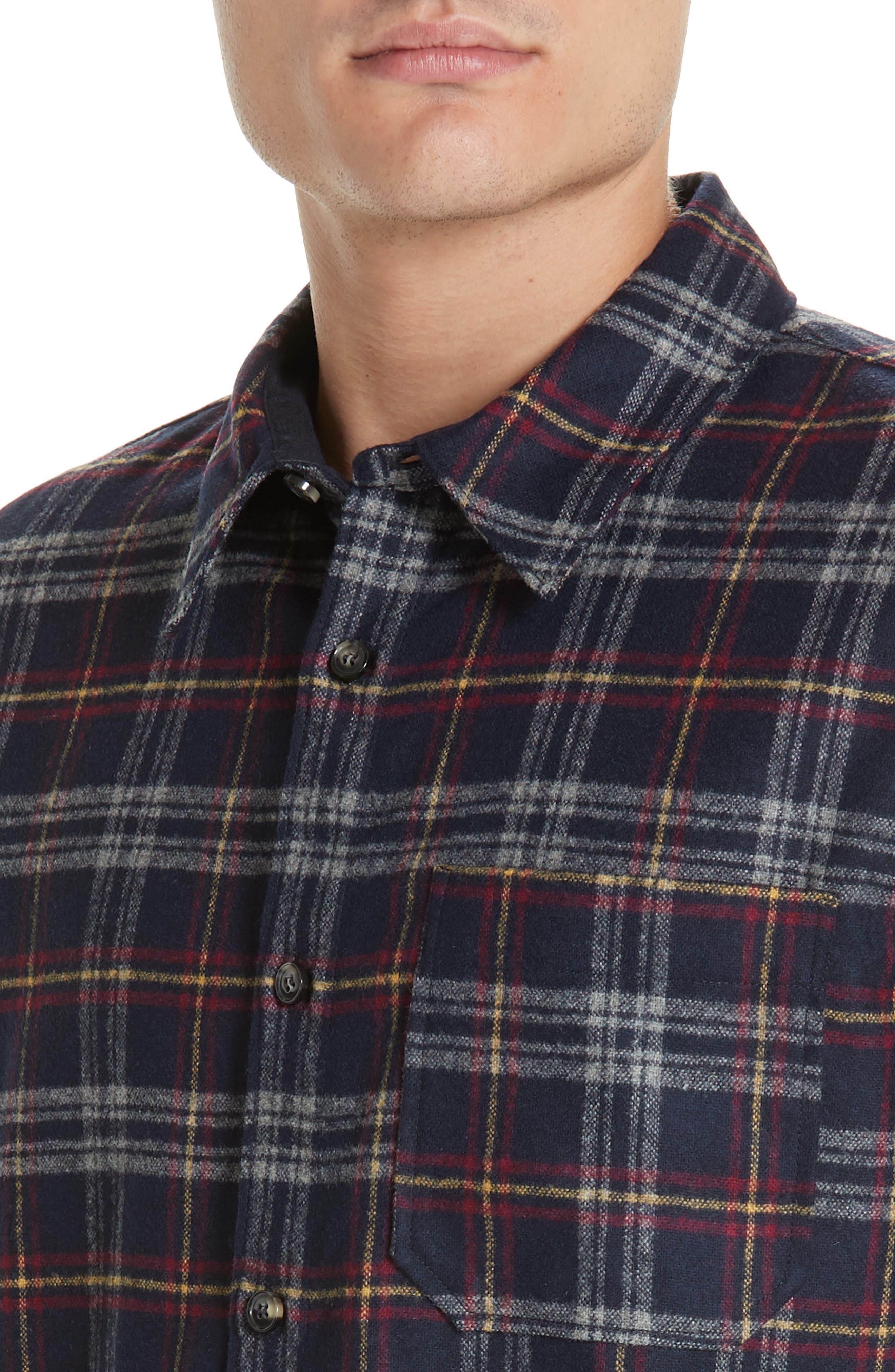 Check Flannel Shirt,                             Alternate thumbnail 2, color,                             IAK NAVY